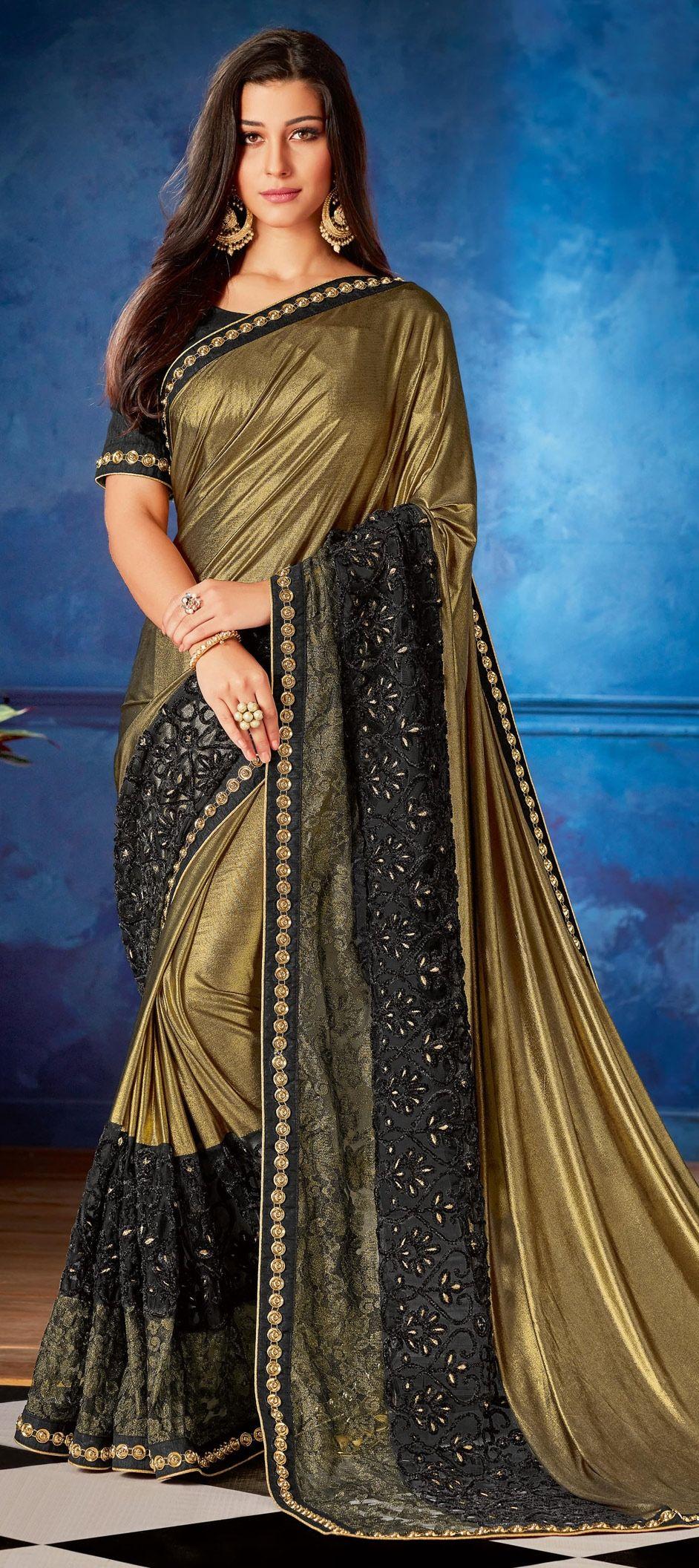 6e6b5b96f1ea46 1522110: Party Wear Black and Grey, Gold color Lycra, Net fabric Saree