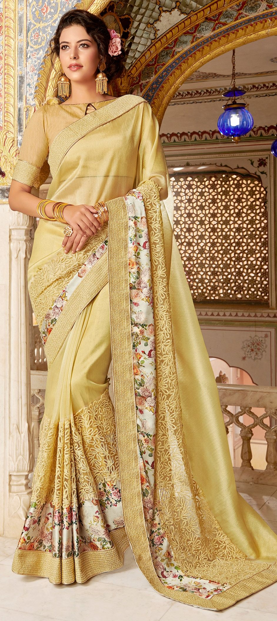 2588a5d734 1522714: Party Wear Beige and Brown color Fancy Fabric fabric Saree