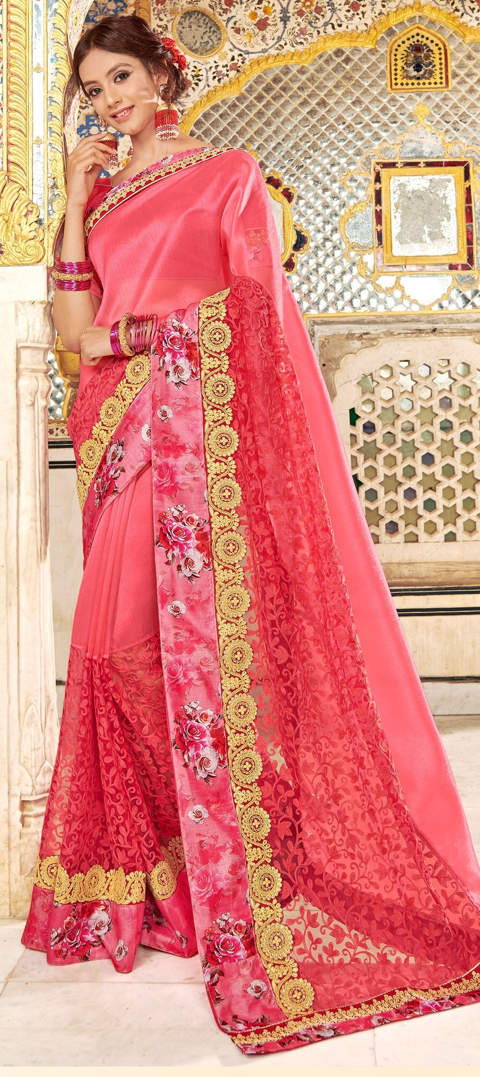 87cbc7919f 1522715: Party Wear Pink and Majenta color Fancy Fabric fabric Saree