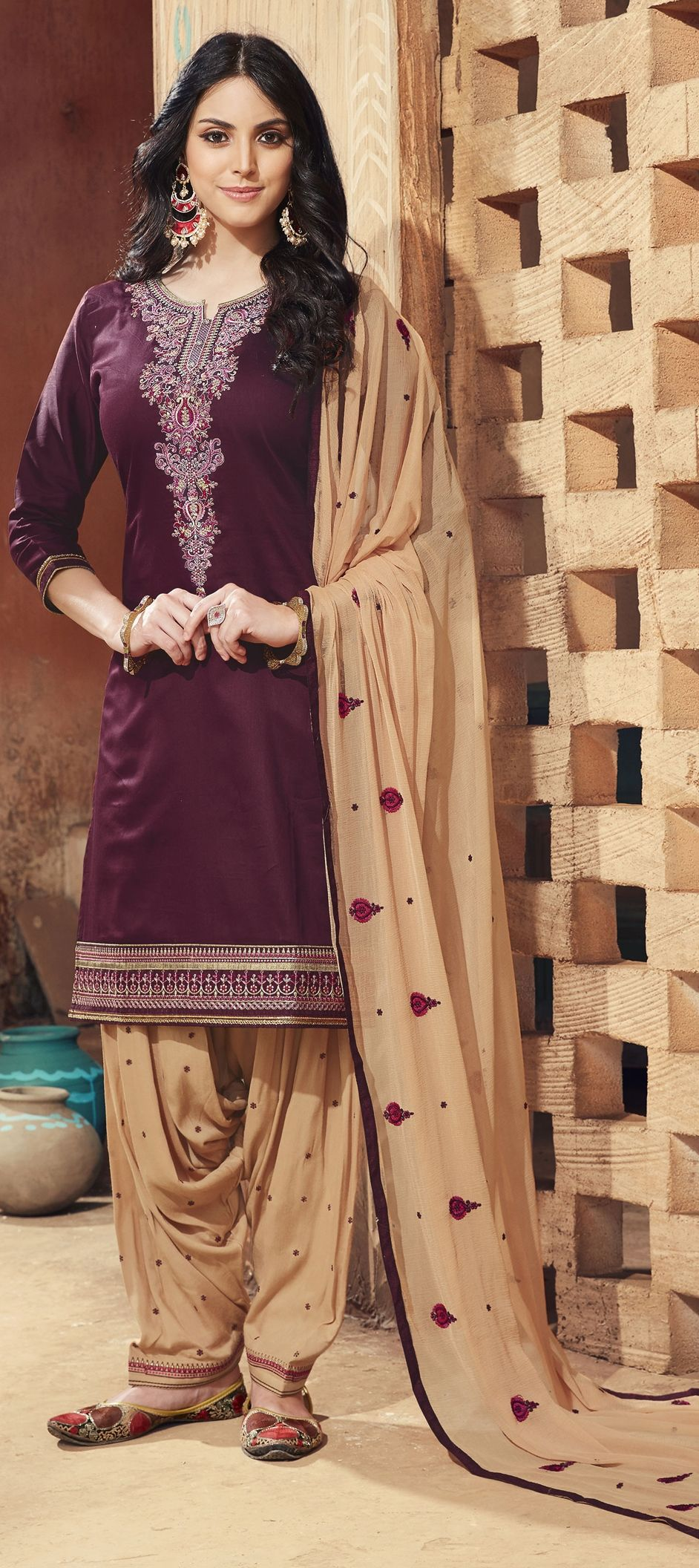 e10d07071a 1523808: Party Wear Purple and Violet color Satin Silk fabric Salwar ...