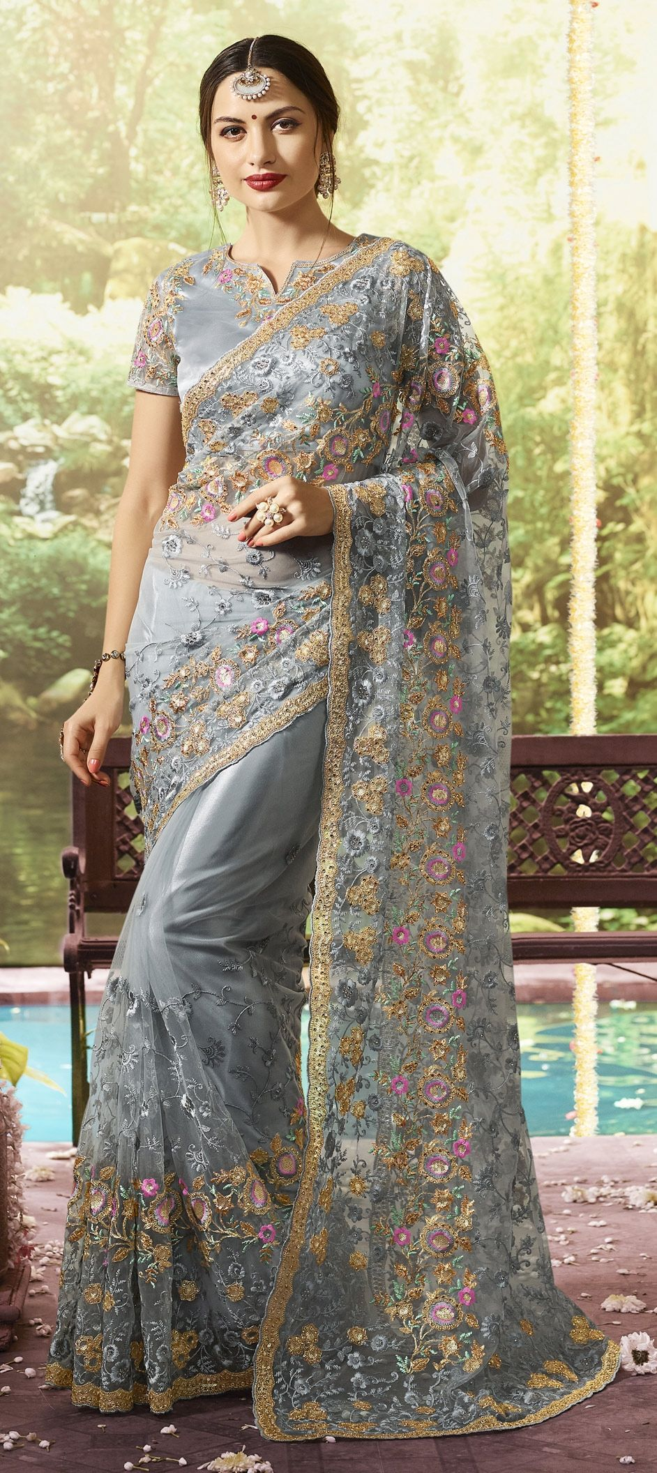 classic embroidery work saree