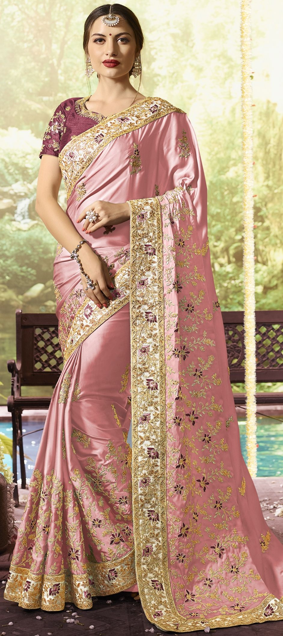 6d0fbb01d8f02b 1531965: Party Wear, Traditional Pink and Majenta color Satin Silk ...