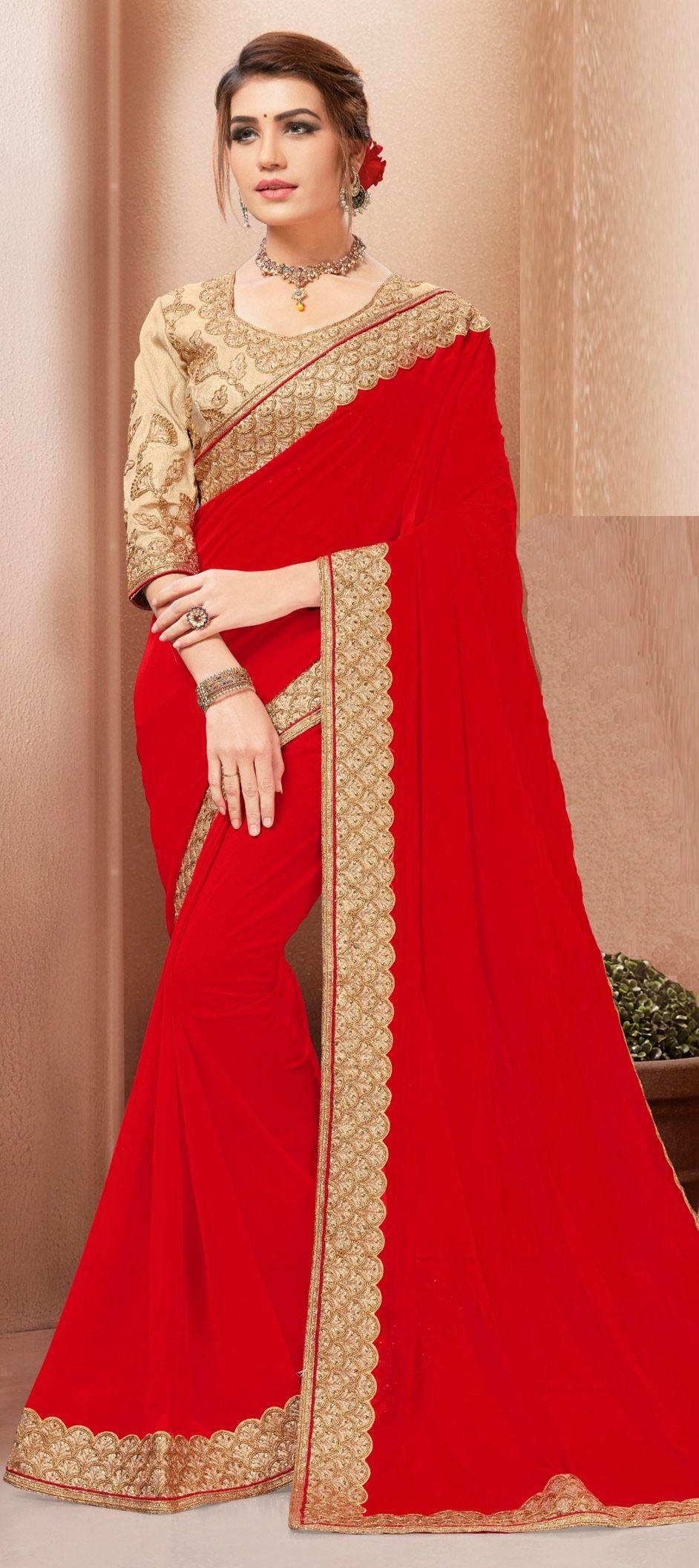 c7d5e64e63 1532859: Party Wear Red and Maroon color Georgette fabric Saree