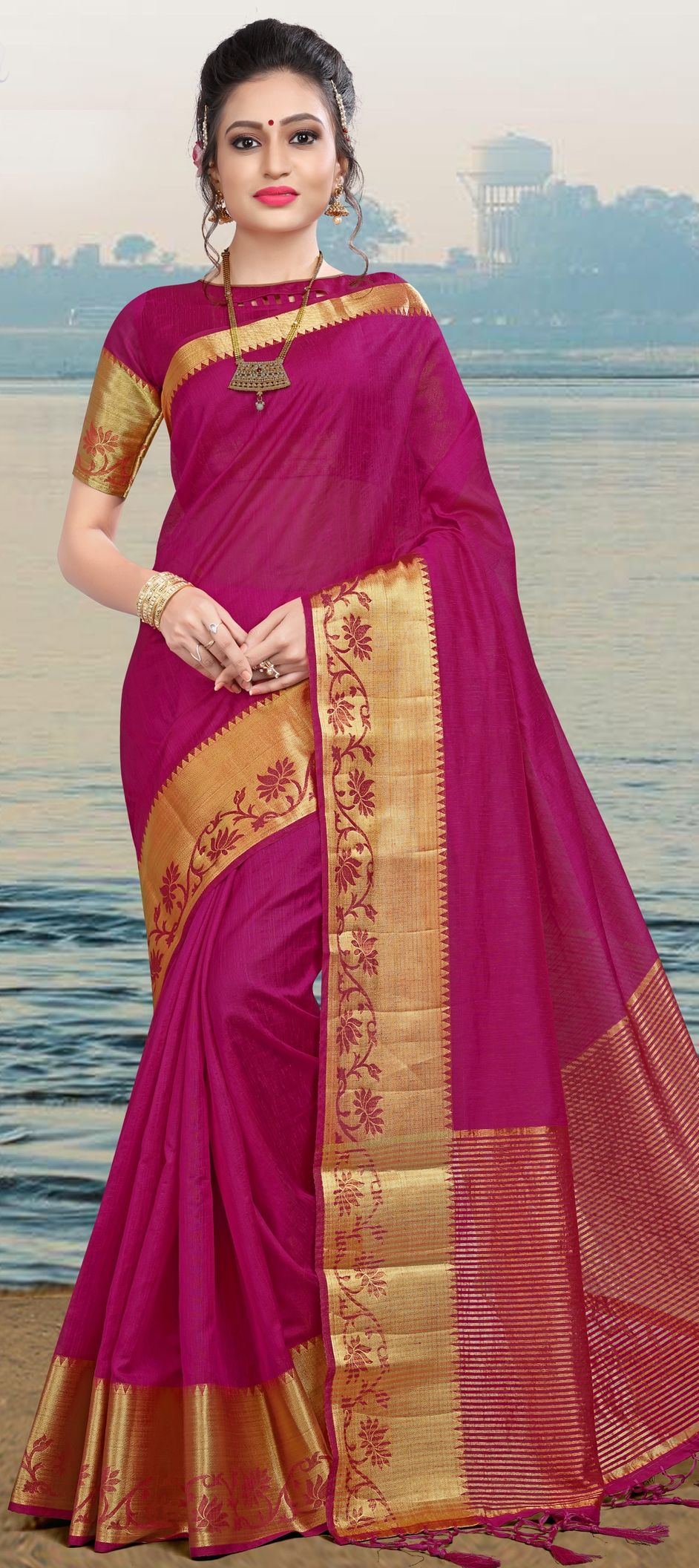 e476f705d3 1536226  Party Wear Pink and Majenta color Linen fabric Saree