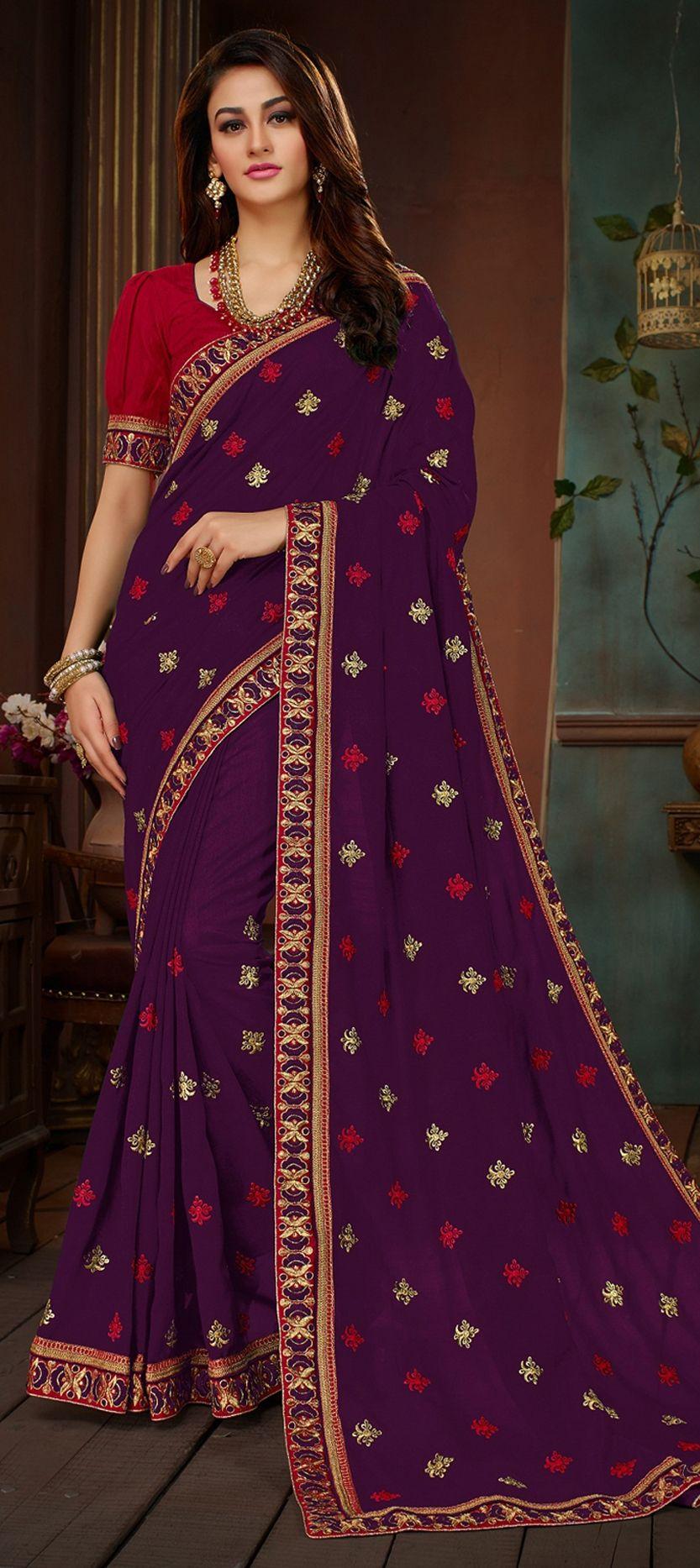 6147bdfc8b0636 Traditional purple and violet color art silk fabric saree jpg 833x1867 Purple  saree back