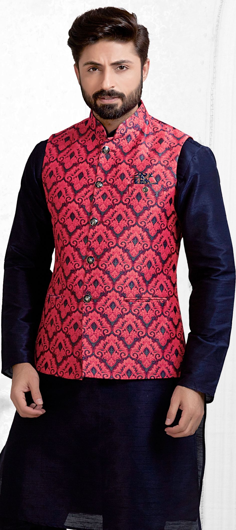 b514f0707 Brocade Nehru Jacket in Red and Maroon with Thread work