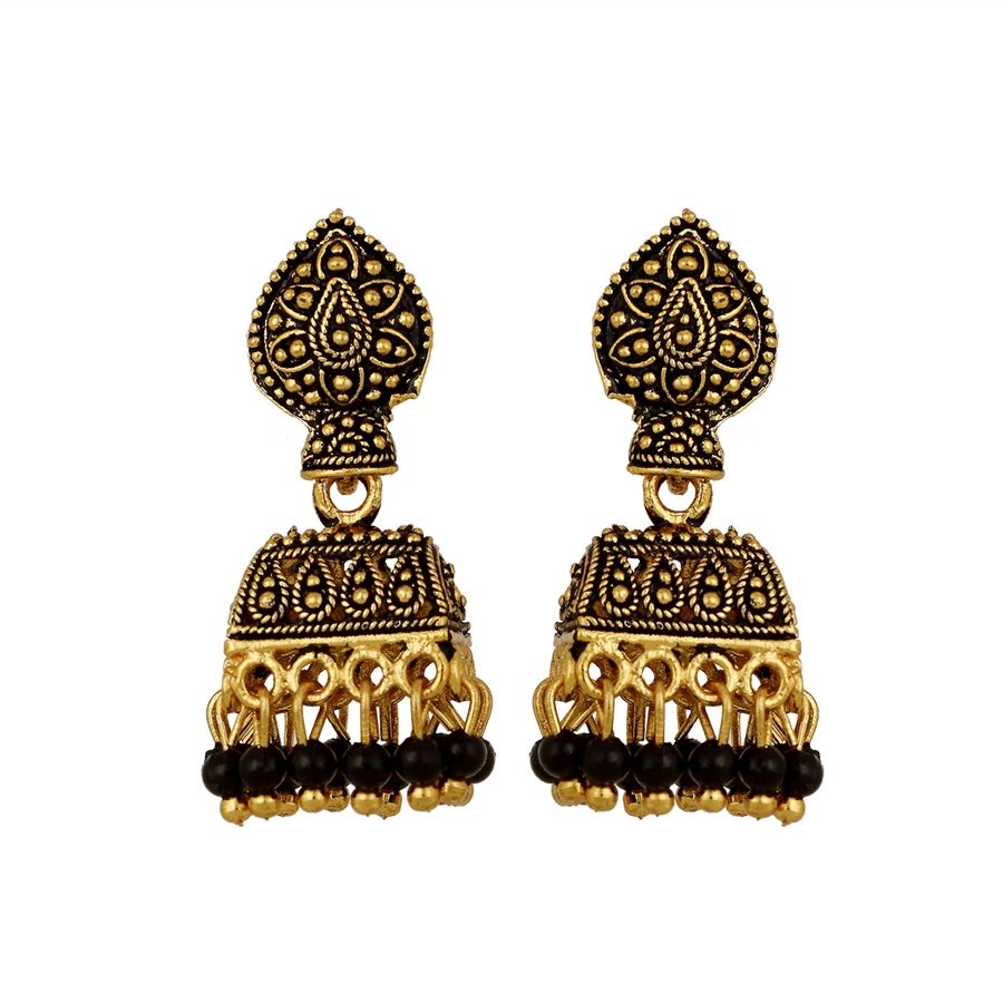 Grey Colour Earrings: 1538723: Black And Grey Color Brass Metal Earrings