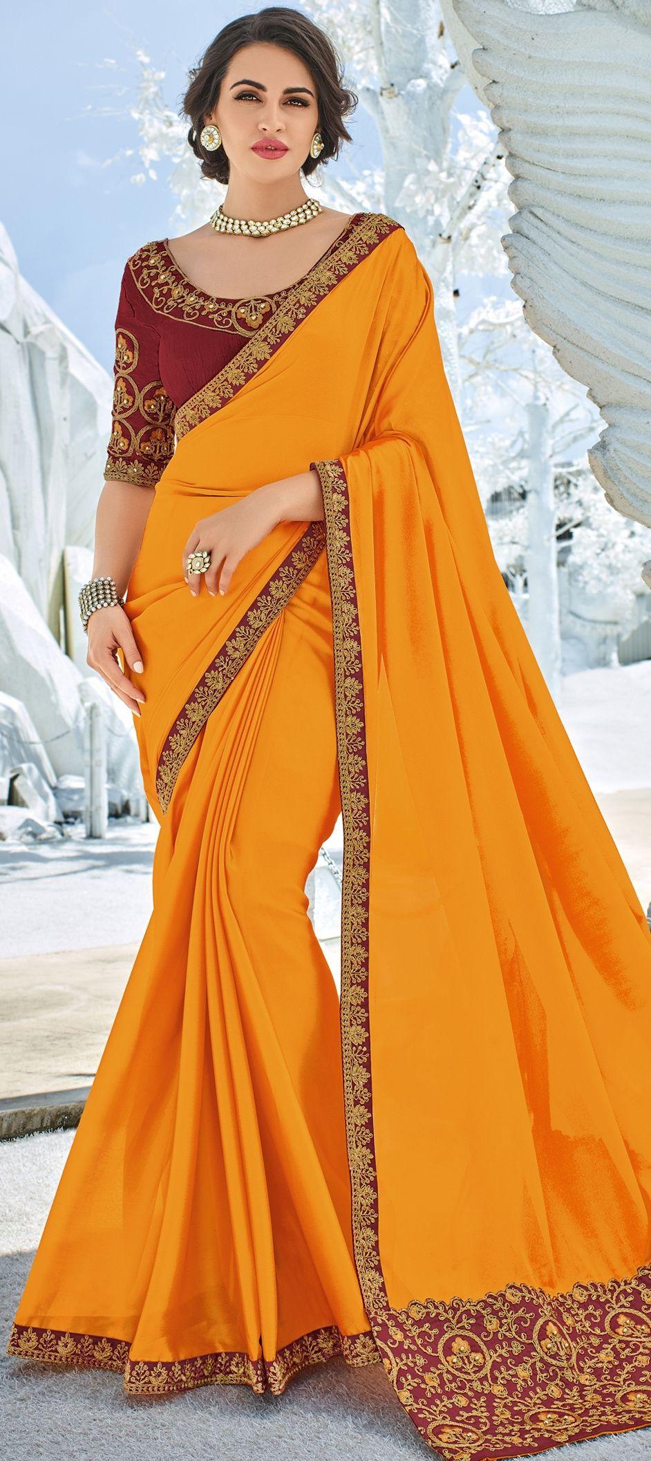 1ad835120a 1540038: Party Wear Orange color Faux Georgette fabric Saree