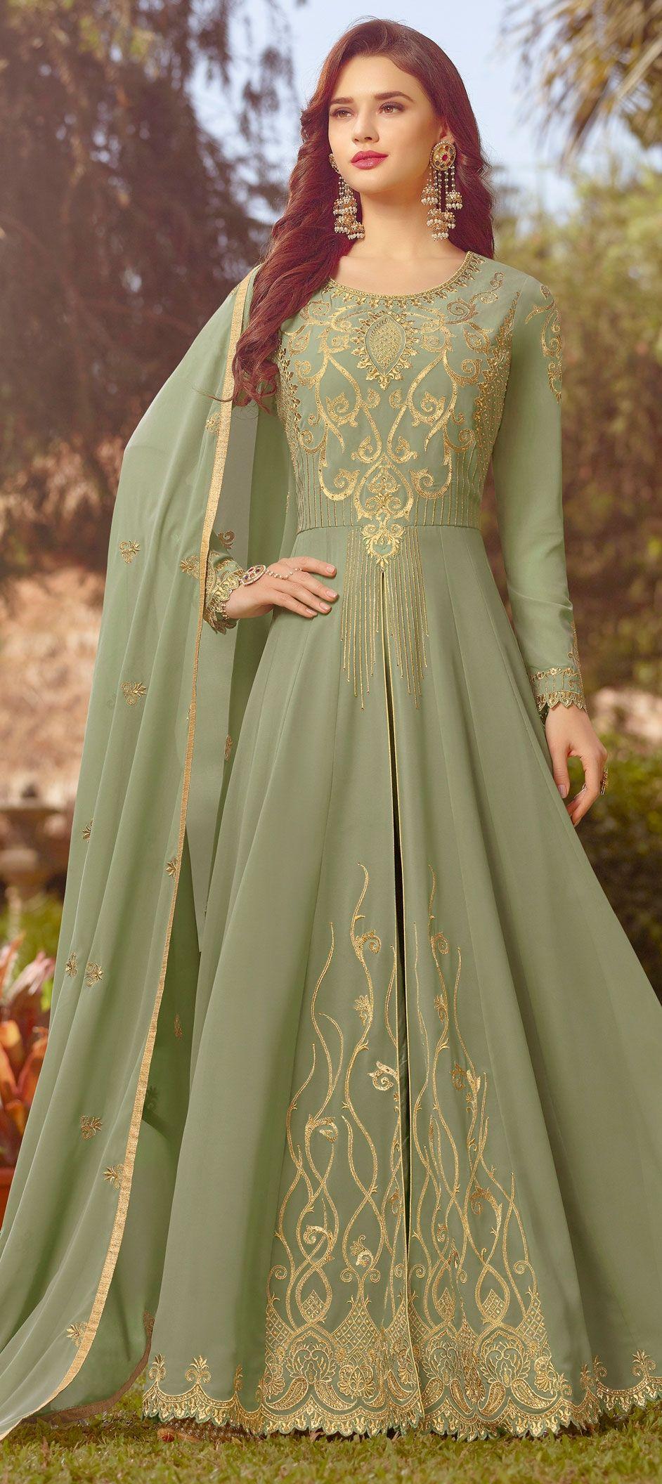 b160e4c6e5 1548651: Party Wear Green color Georgette fabric Salwar Kameez