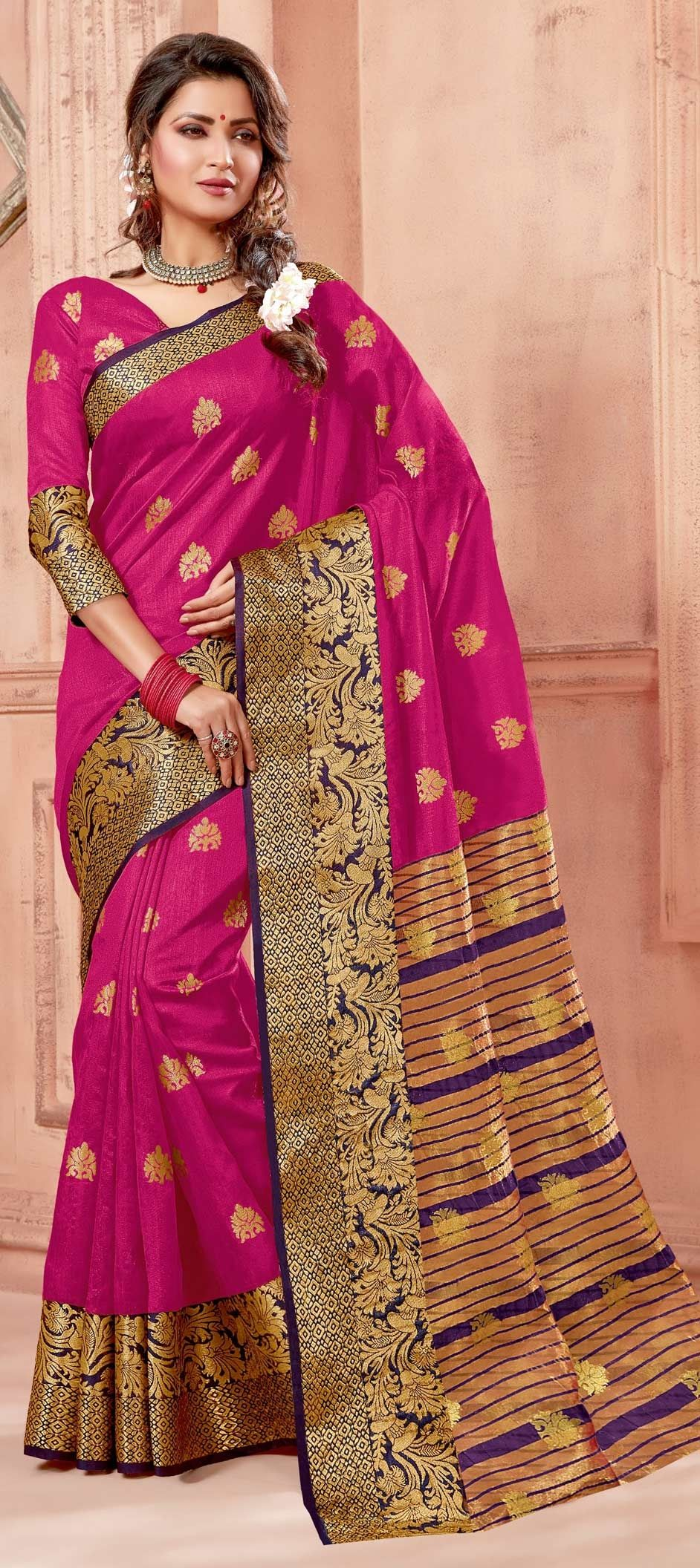 b5ac85e472 1552086: Traditional Pink and Majenta color Chanderi Silk, Silk ...