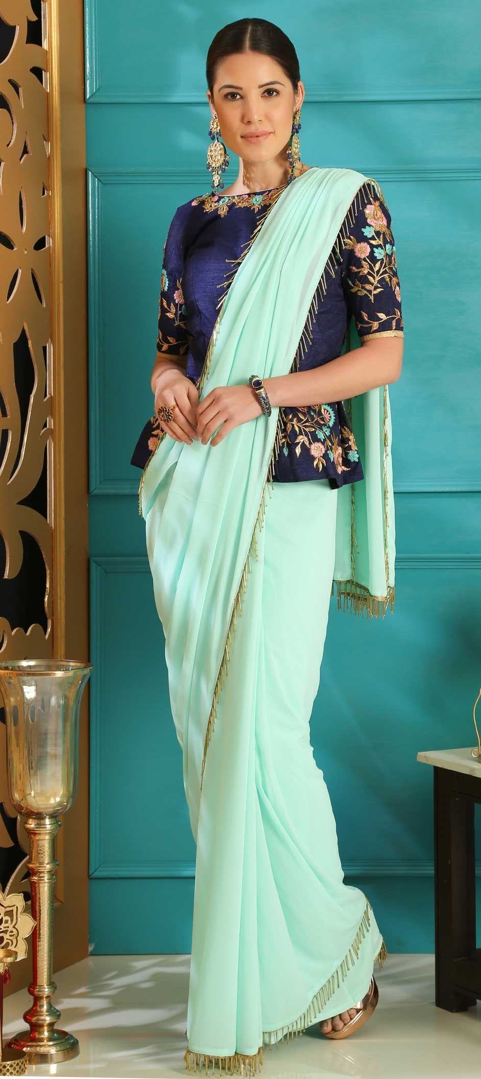 18aa4276f6 1554682: Party Wear Blue color Faux Georgette fabric Saree