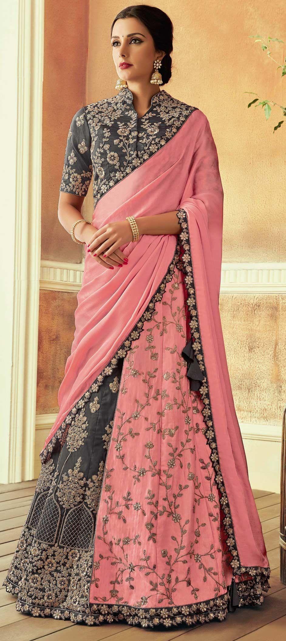 24f5e14cd7 1555386: Bridal, Wedding Black and Grey, Pink and Majenta color Silk ...