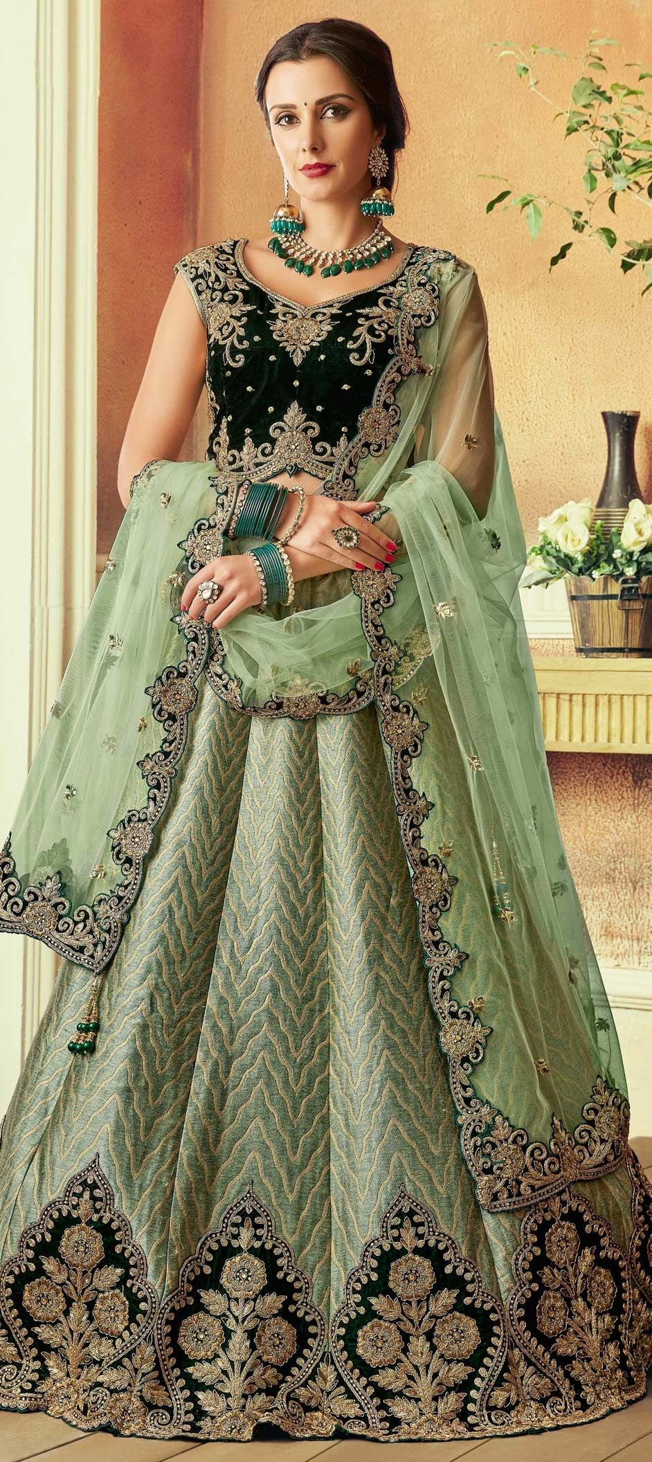 fcc217cdd 1555387: Bridal, Wedding Green color Brocade fabric Lehenga