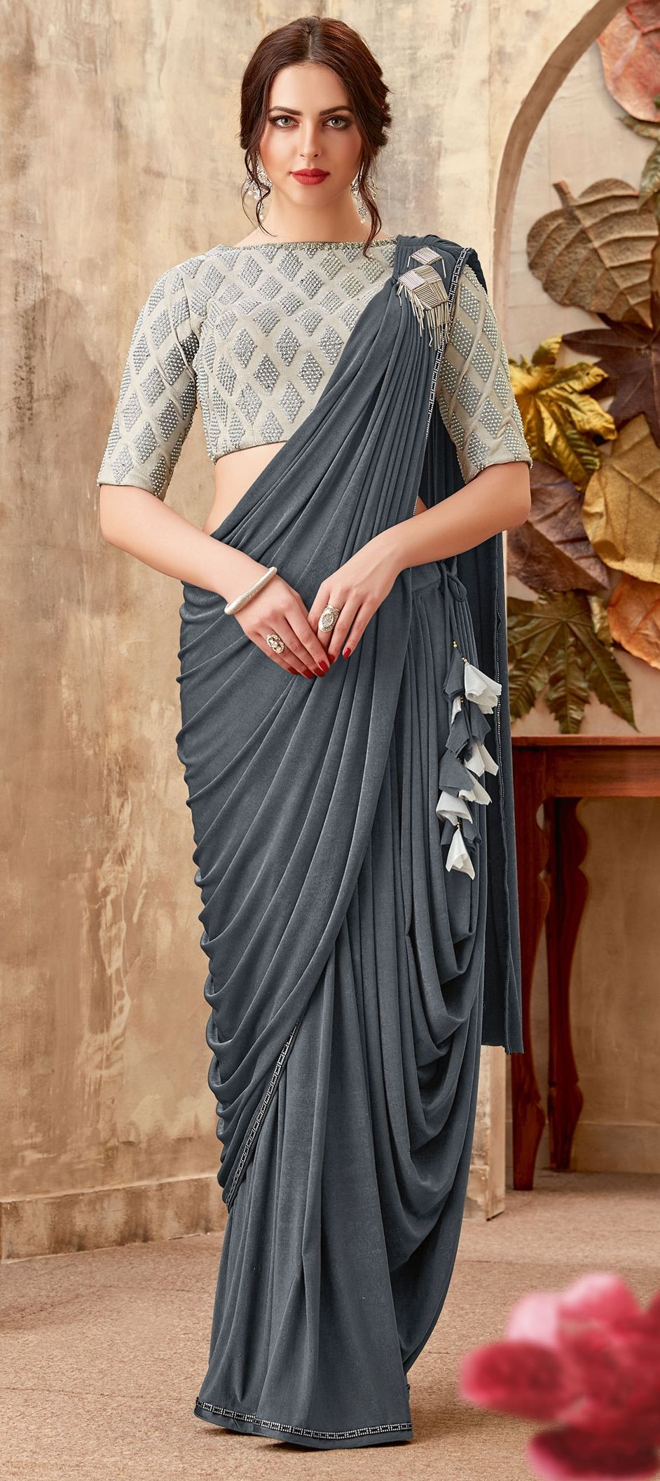 Lycra Bridal Readymade Saree In Black And Grey With Bugle Beads Work