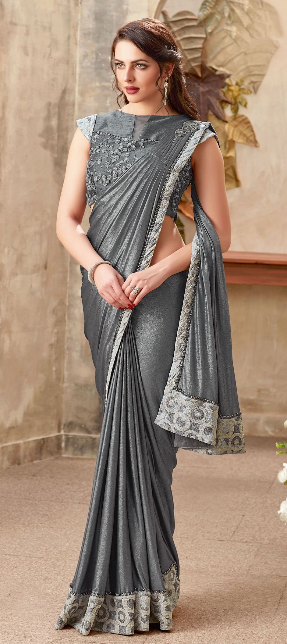 Lycra Engagement Readymade Saree In Black And Grey With Thread Work