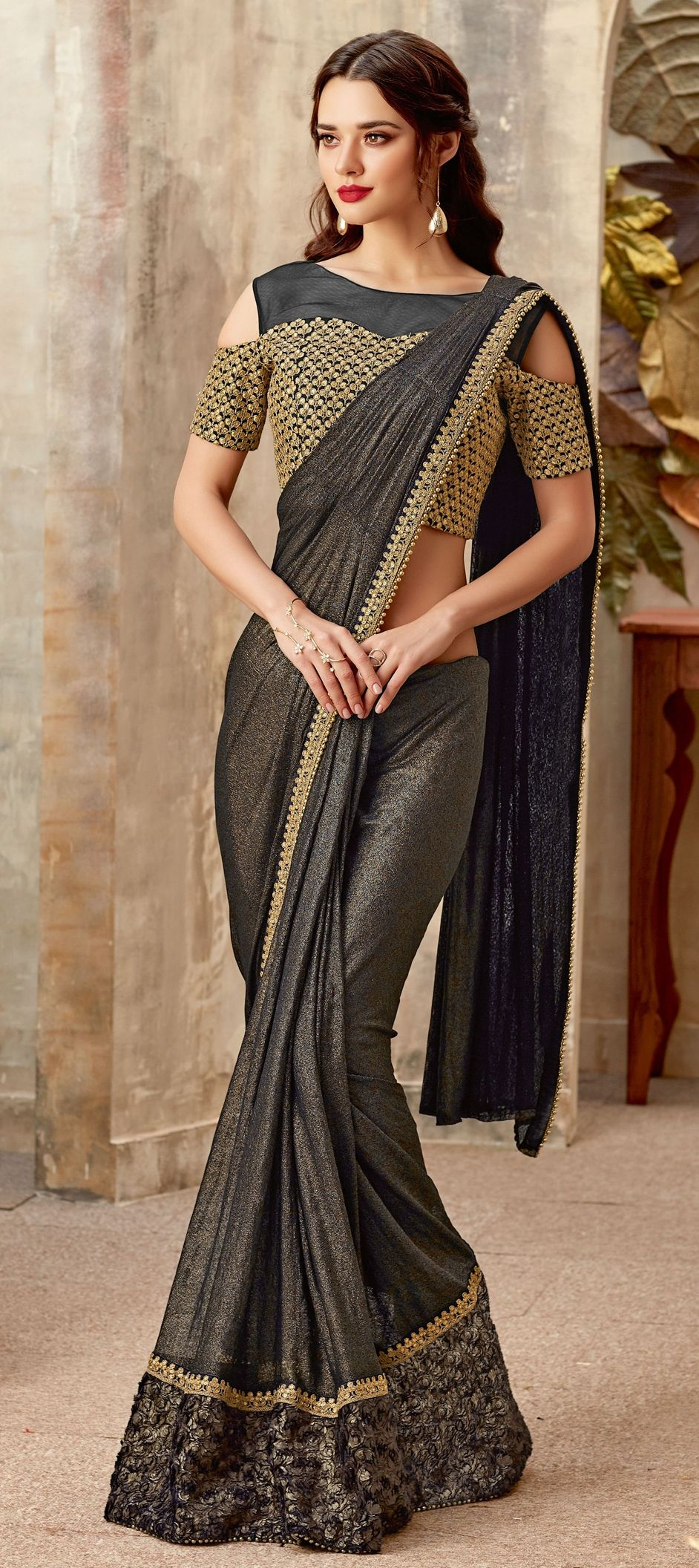 Lycra Engagement Readymade Saree In Black And Grey With Sequence Work