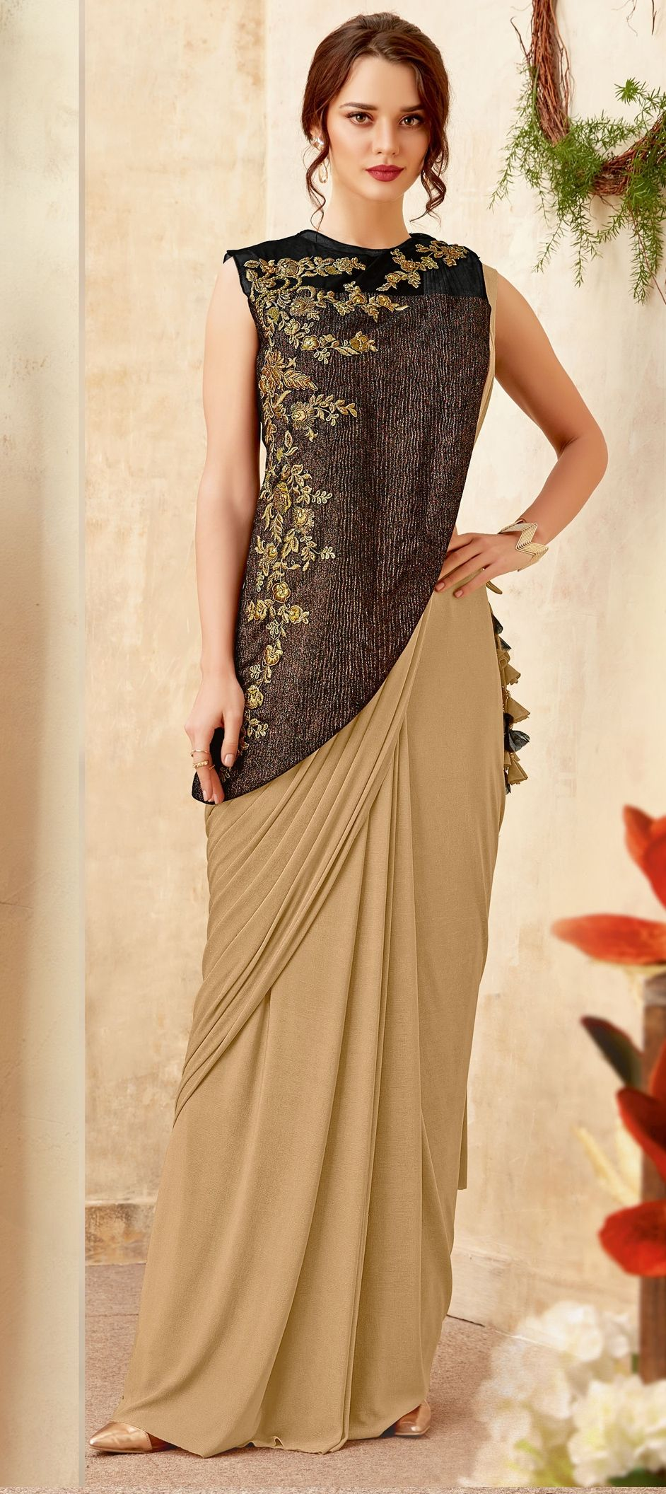 Lycra Designer Readymade Saree In Beige And Brown With Embroidered Work