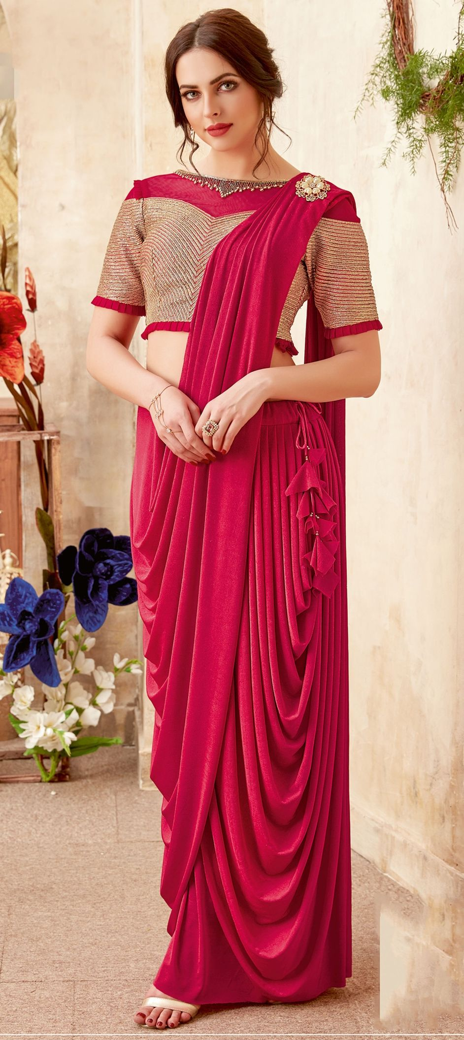 Lycra Reception Readymade Saree In Pink And Majenta With Sequence Work