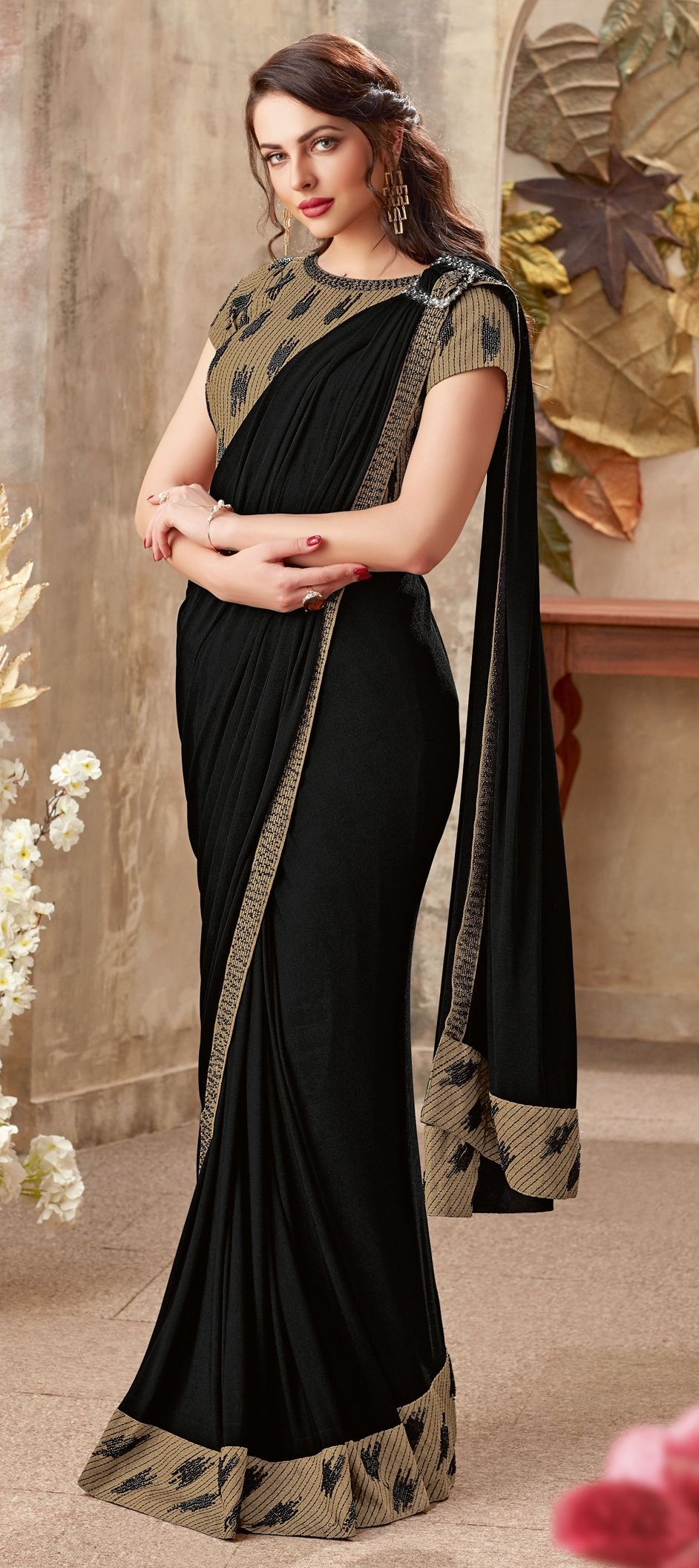 Lycra Wedding Readymade Saree In Black And Grey With Thread Work