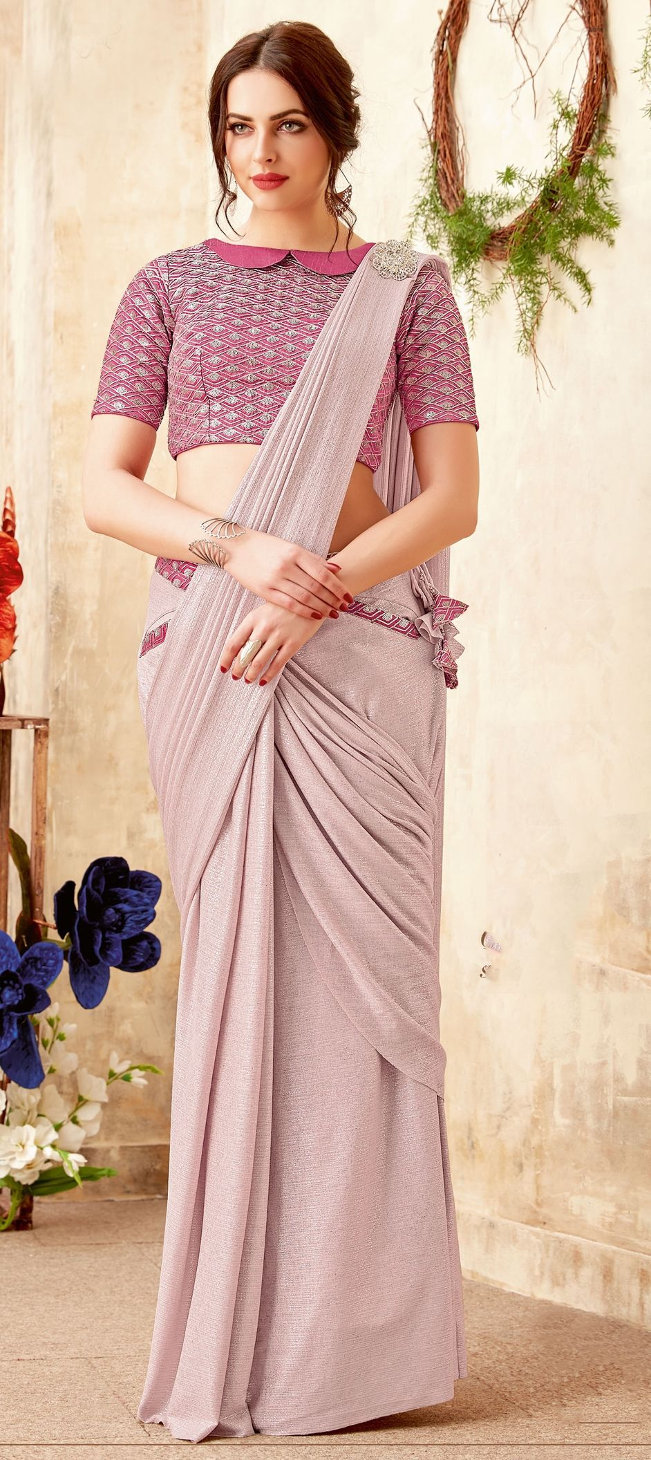 Lycra Bridal Readymade Saree In Pink And Majenta With Embroidered Work