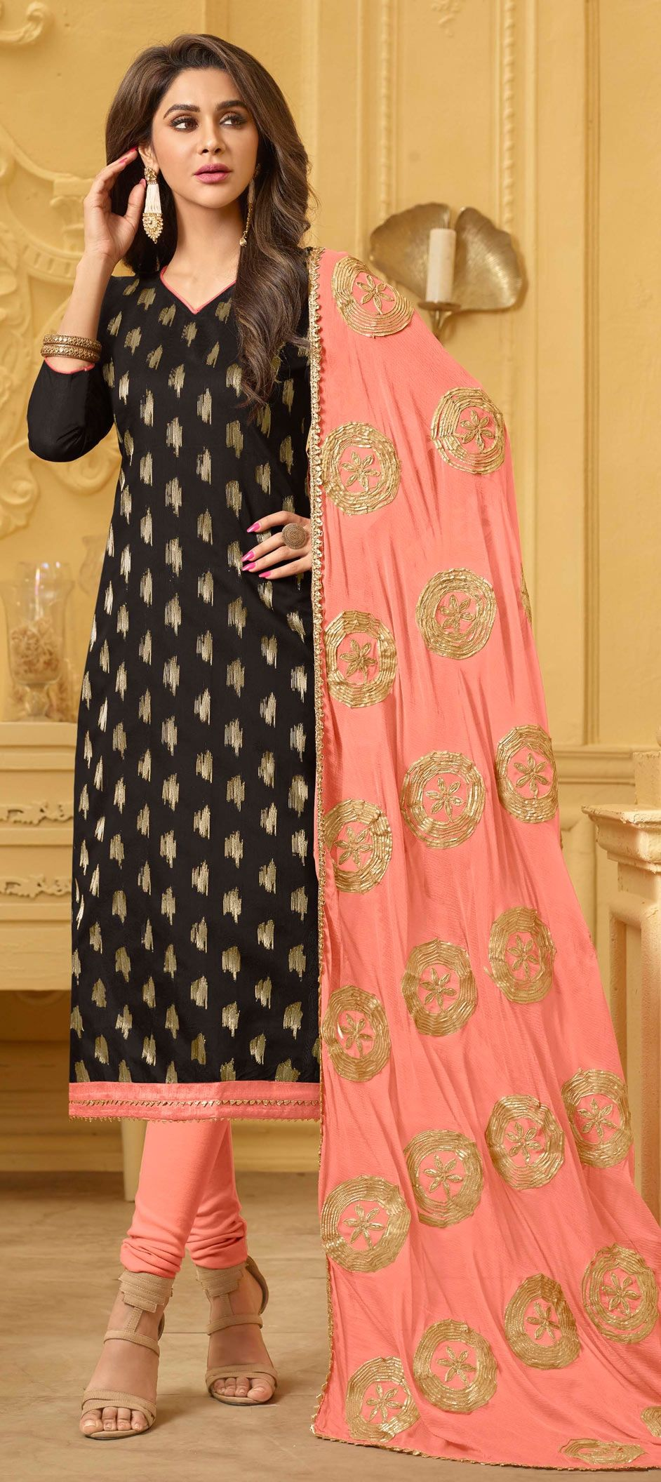 2bc4a39ba7 1559171: Casual, Party Wear Black and Grey color Banarasi Silk ...