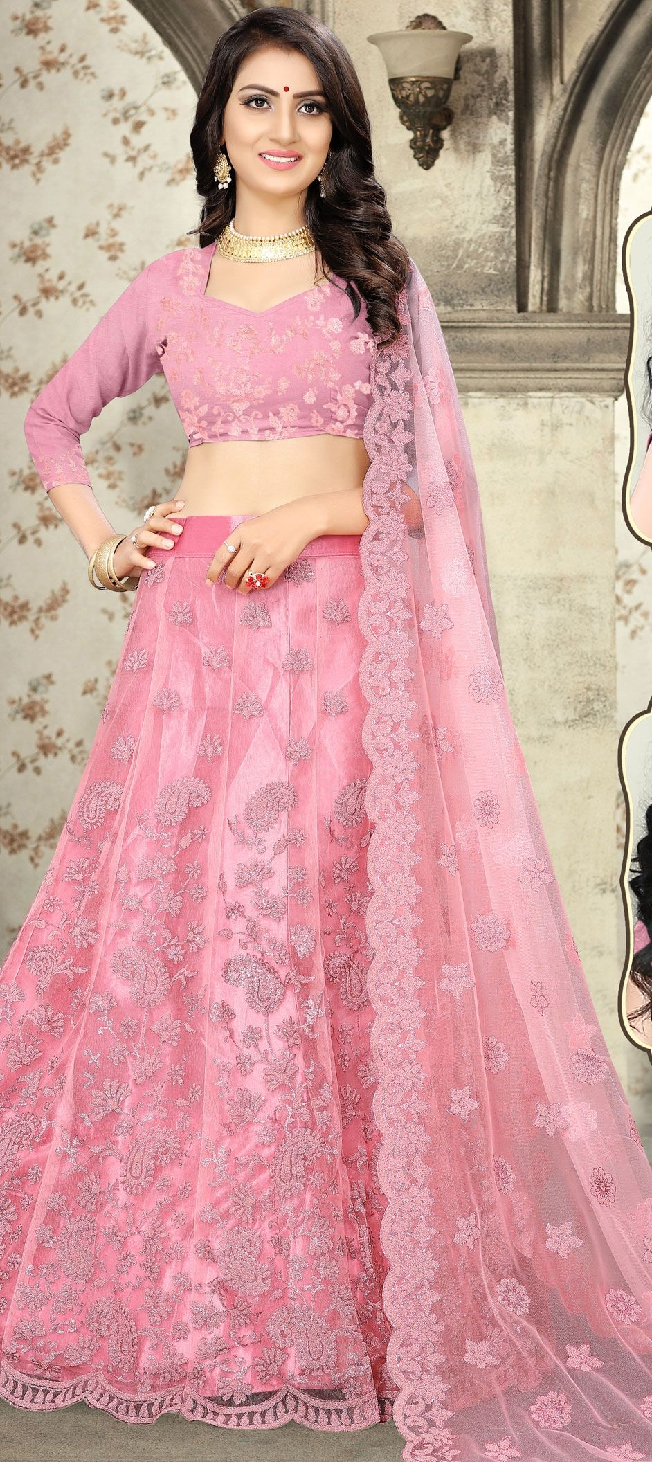 2a80fb5a06 Engagement, Party Wear, Reception Pink and Majenta color Net fabric ...