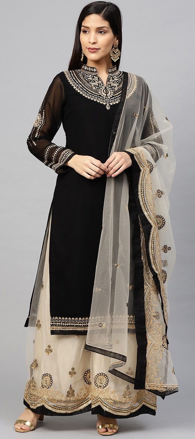 a5112a5719 Bollywood Black and Grey color Georgette fabric Salwar Kameez : 1566197