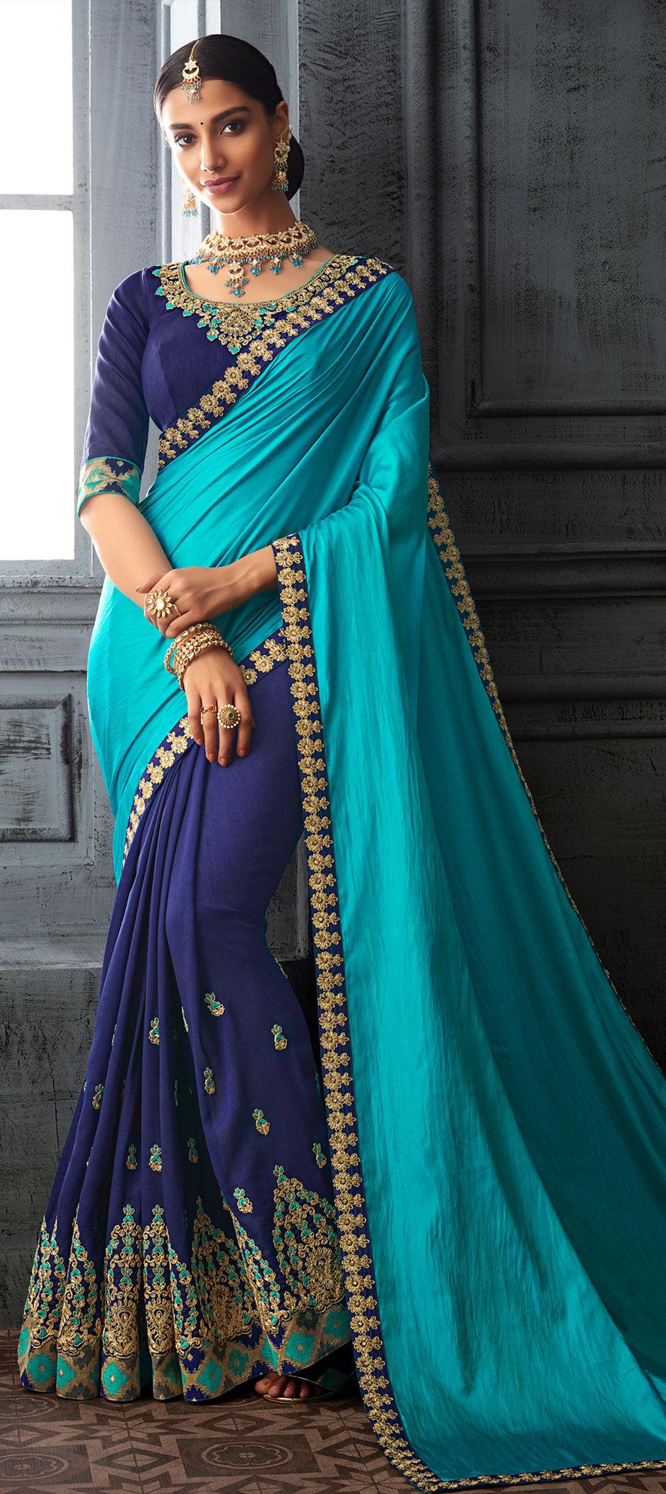 half embroidery saree