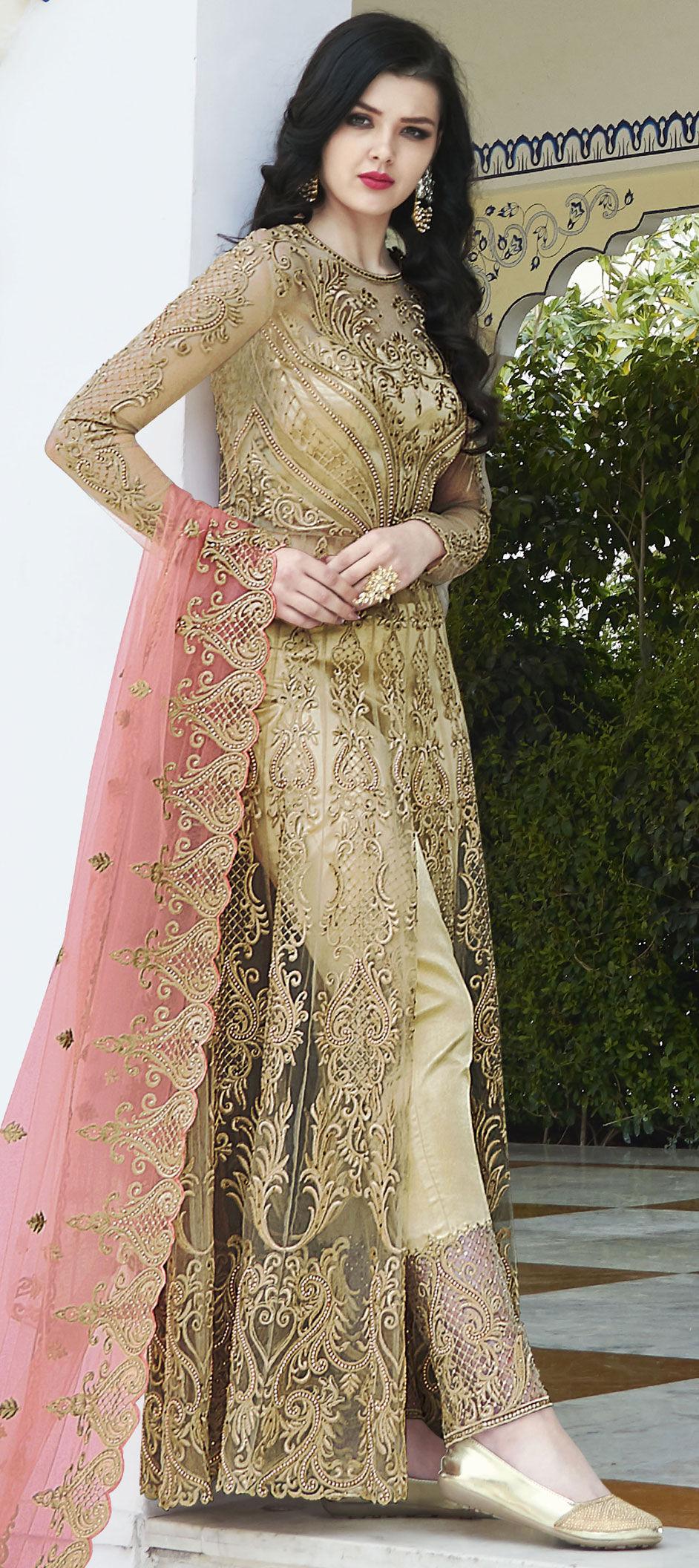 40acce5496 Designer, Mehendi Sangeet, Party Wear, Reception Beige and Brown ...