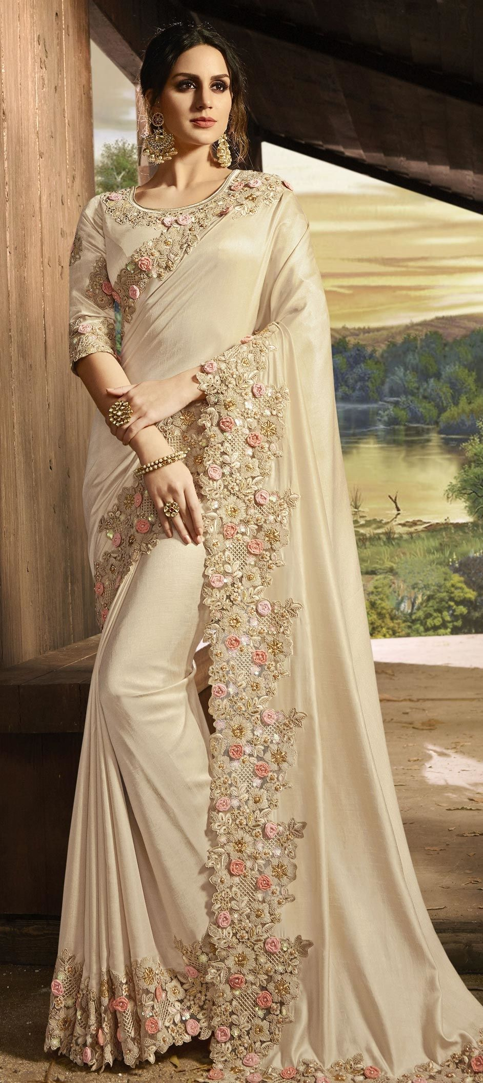 603f6a0ac71 Bollywood Beige and Brown color Art Silk