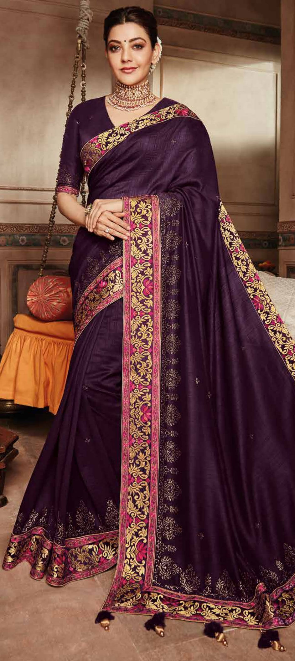 8812638967ed67 Party Wear, Reception, Traditional Purple and Violet color Art Silk ...