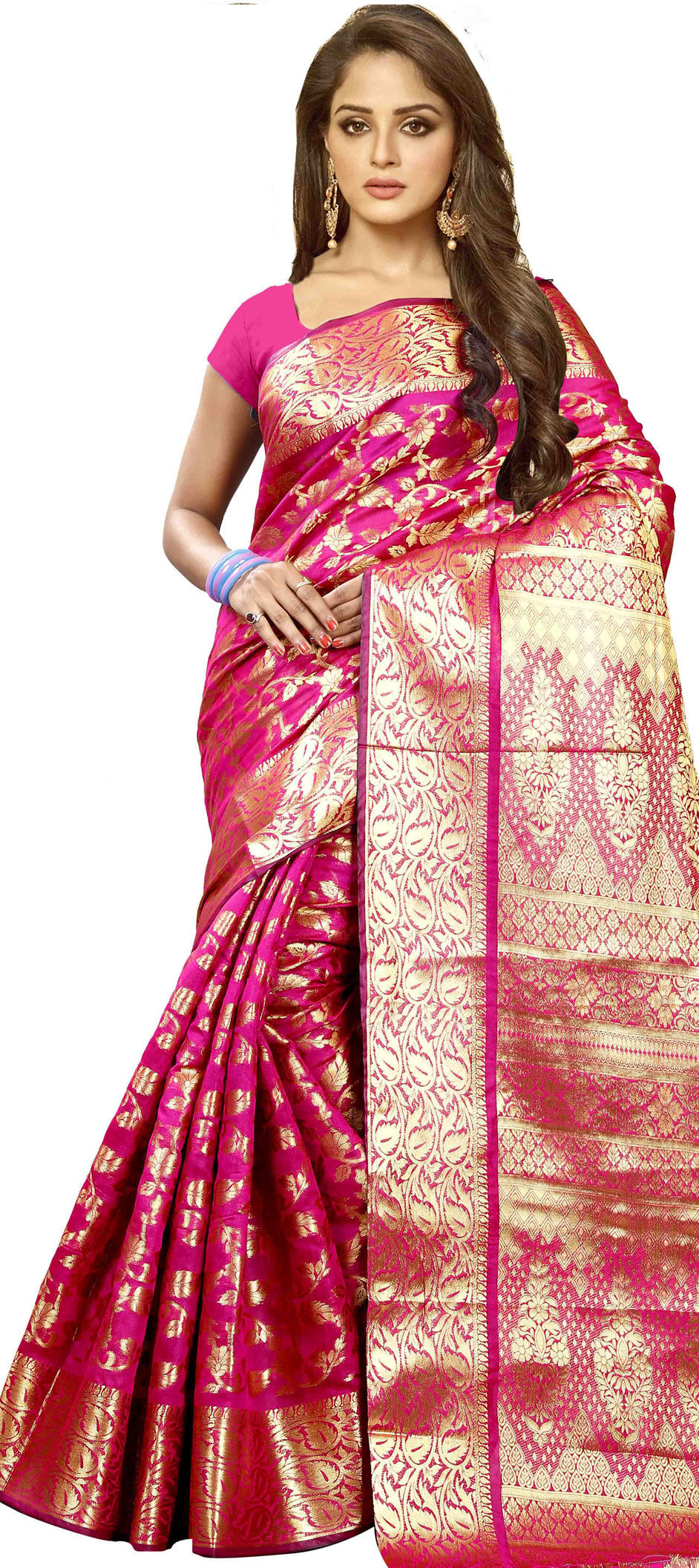 7f200d2387 Party Wear, Traditional Pink and Majenta color Banarasi Silk, Cotton ...