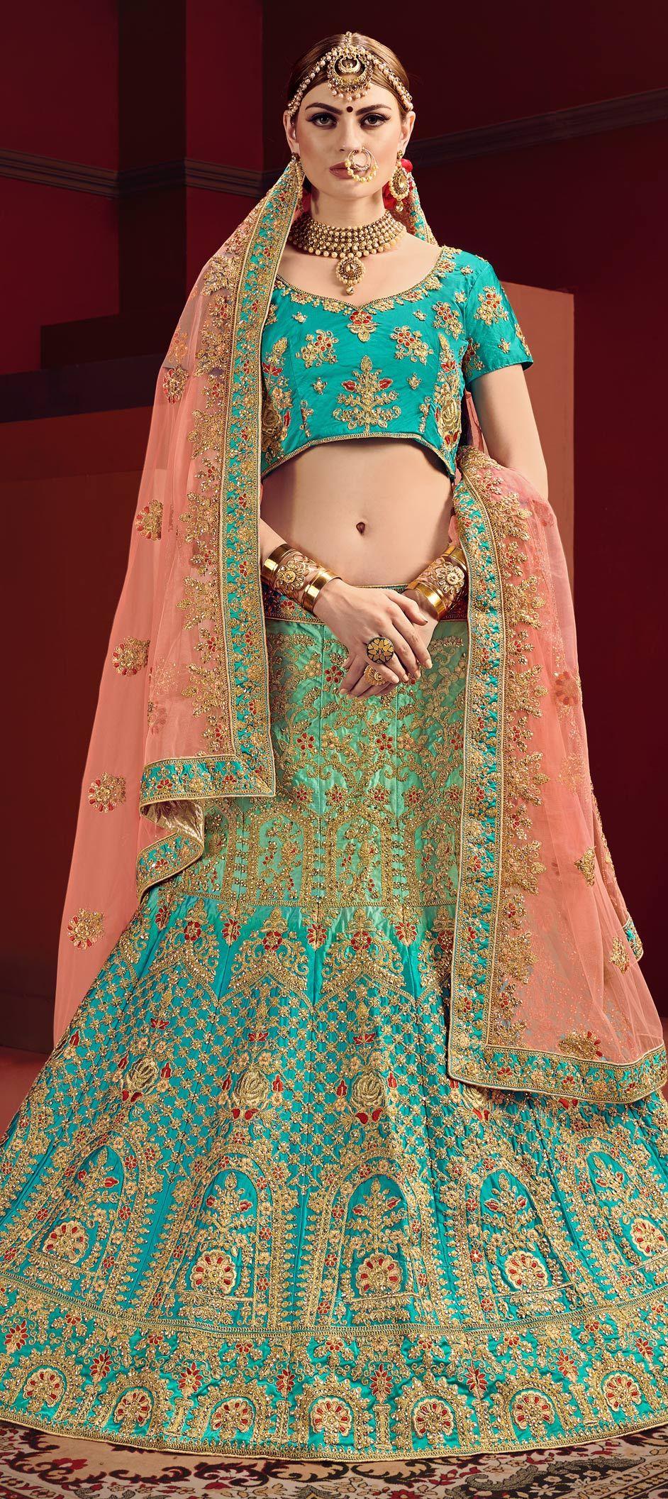 1ef3e1641a Wedding Blue, Green color Satin Silk fabric Lehenga : 1582506