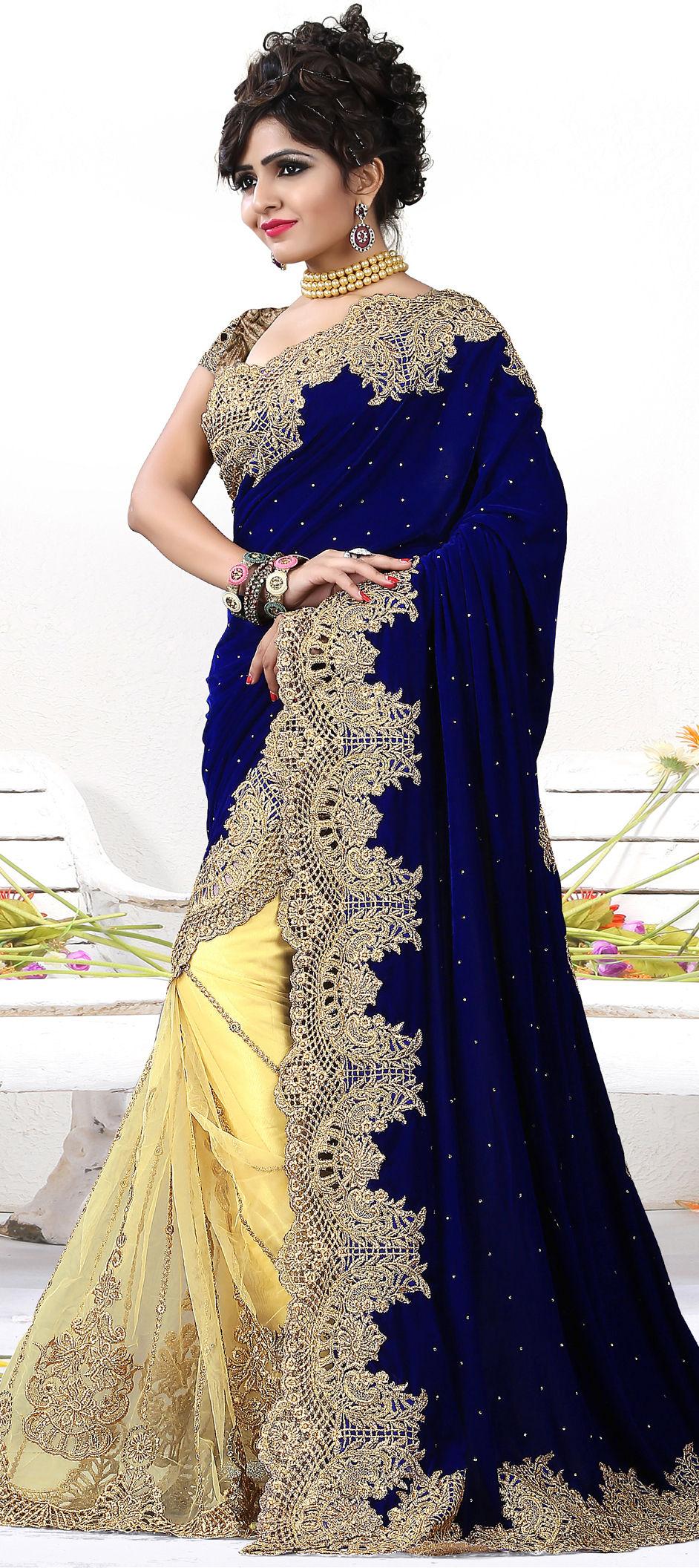 Bridal Wedding Blue Yellow Color Net Velvet Fabric Saree 165141