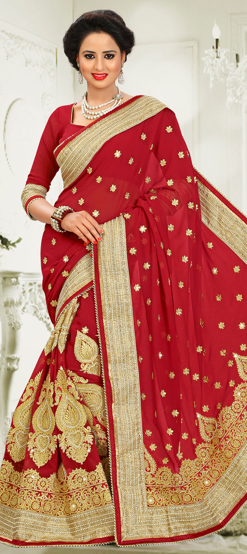 5e97dde769b2 180401: Red and Maroon color family Bridal Wedding Sarees,Party Wear ...