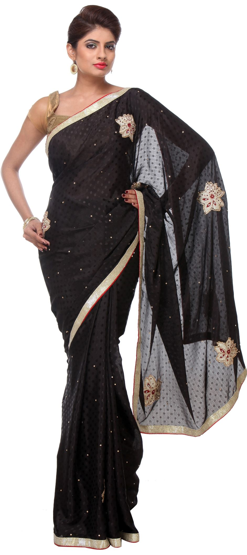 c863c84973 193401: Black and Grey color family Embroidered Sarees, Party Wear ...