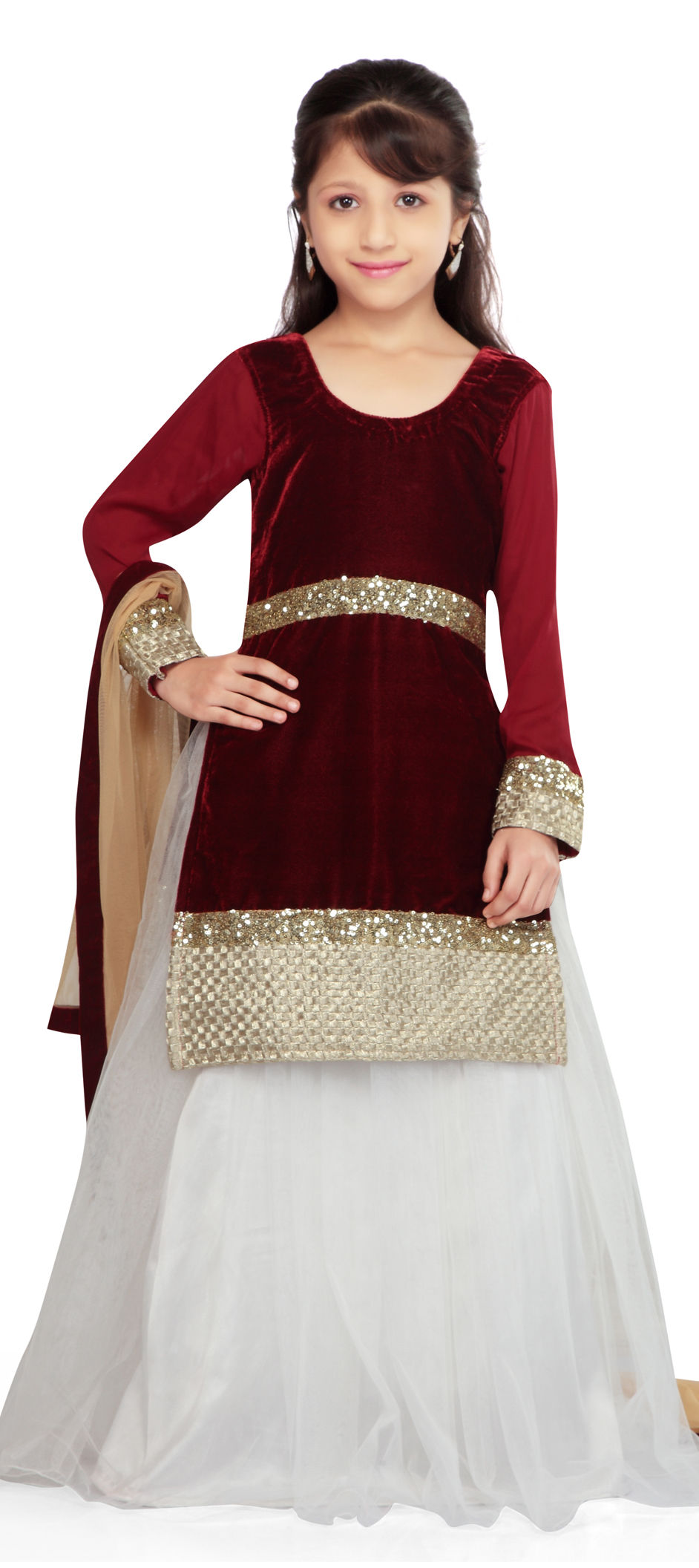 200566 Red And Maroon White And Off White Color Georgette Velvet Fabric Kids Lehenga