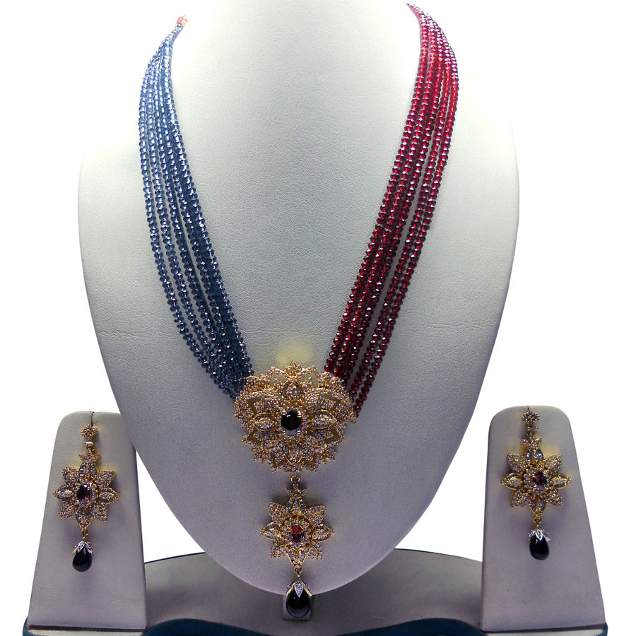 Cz Diamond Beads: 302527: Gold Rodium Polish Necklace Set With Earring In