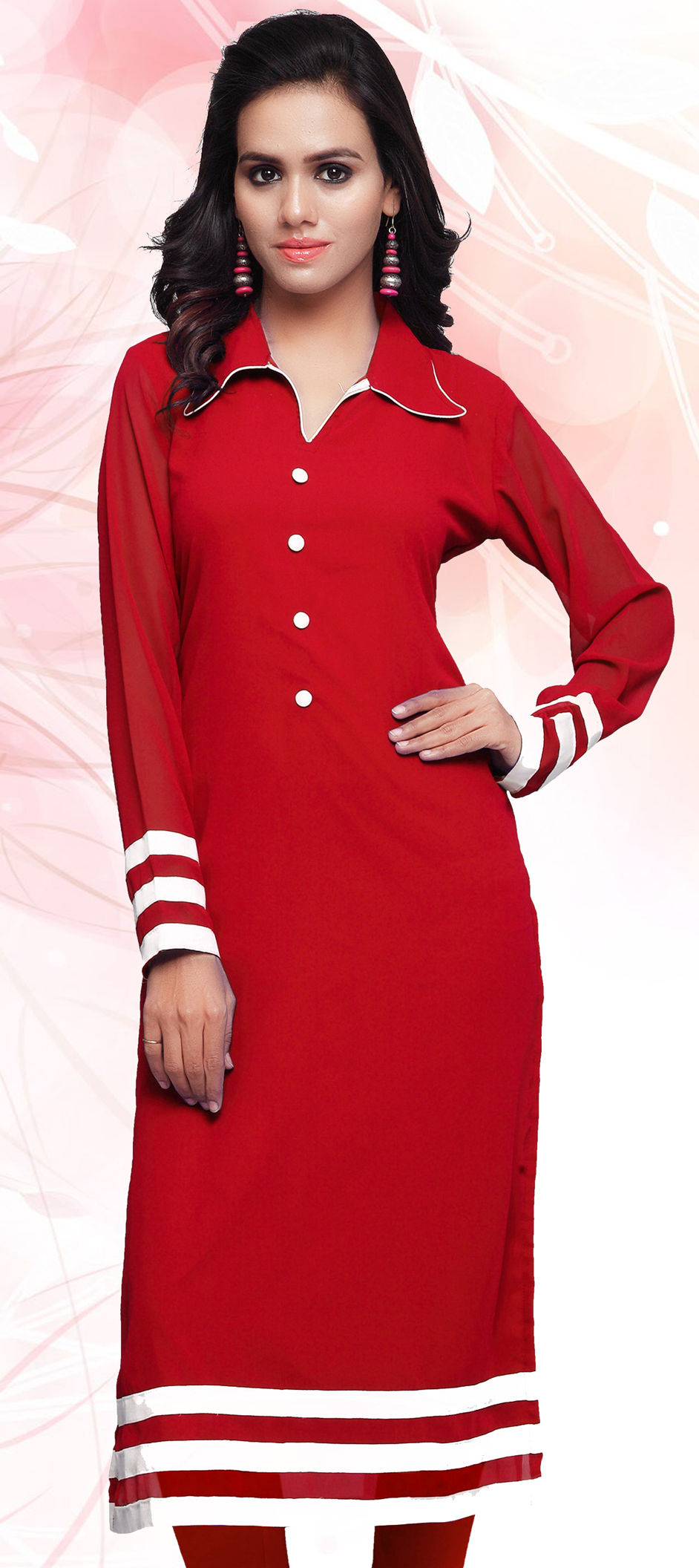 331ad749b854 445184: Red and Maroon color family stitched Long Kurtis .