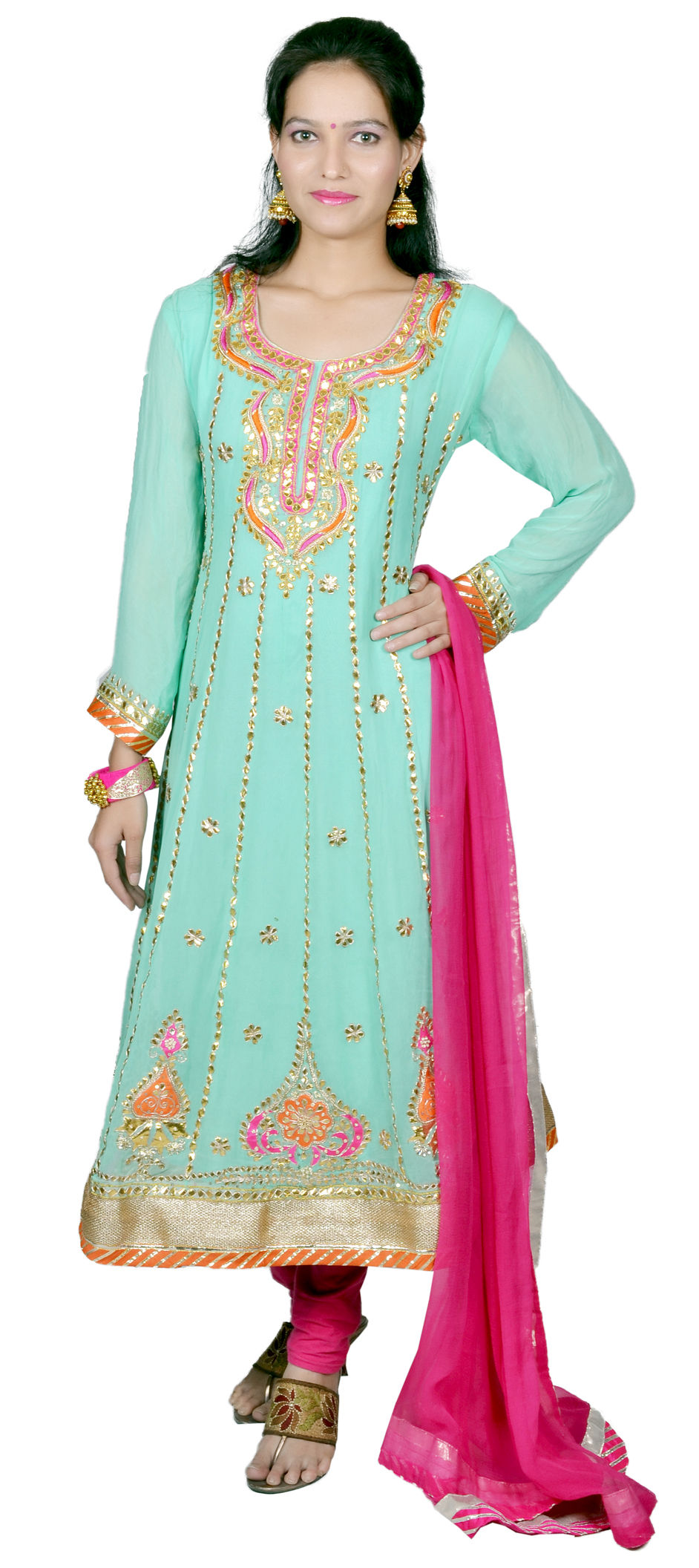 8333e12569 466635: Green color family stitched Anarkali Suits .