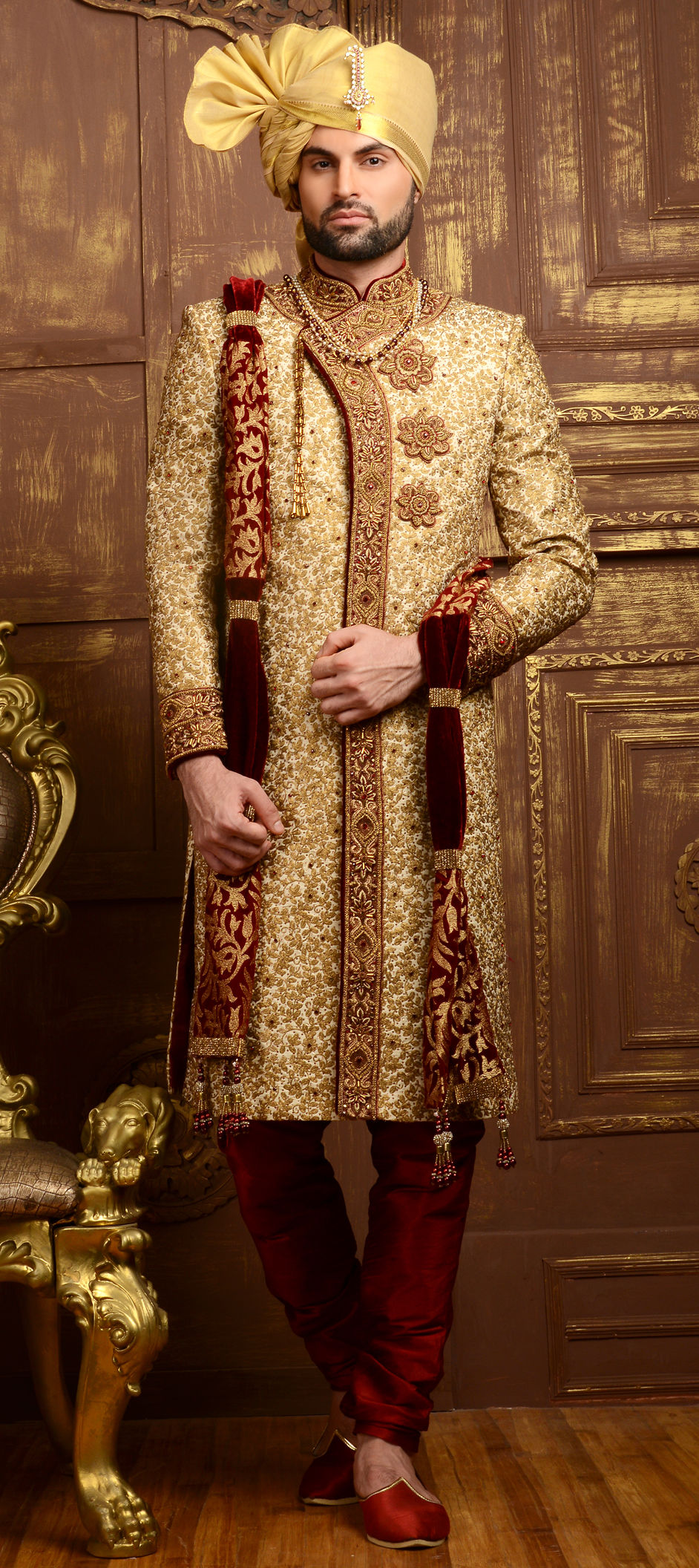 495c0a3b08 Beige and Brown color Brocade, Jacquard, Silk fabric Sherwani : 505833