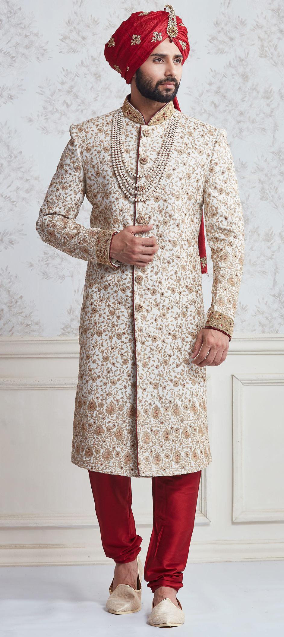 White and Off White color Silk fabric Sherwani : 506228