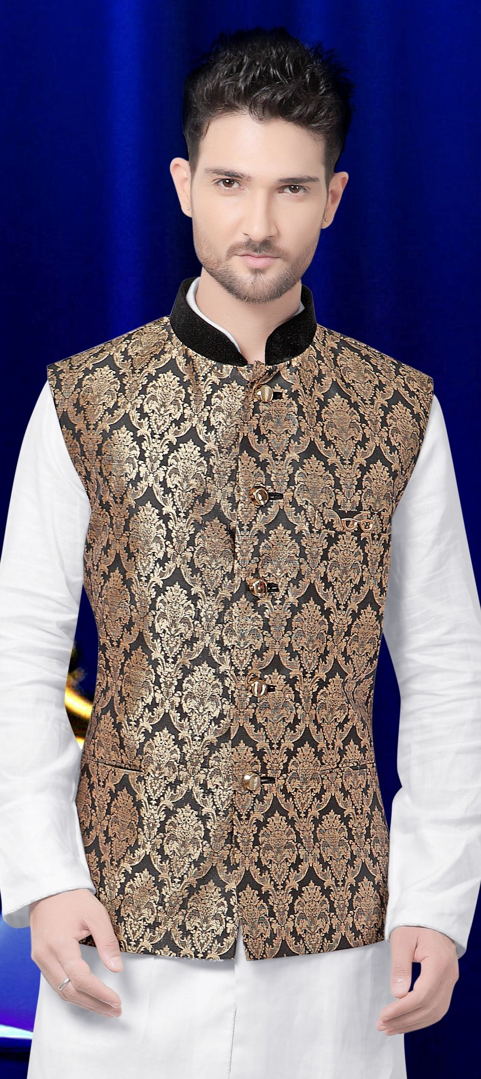 9b1c48a61 Brocade Nehru Jacket in Black and Grey with Thread work