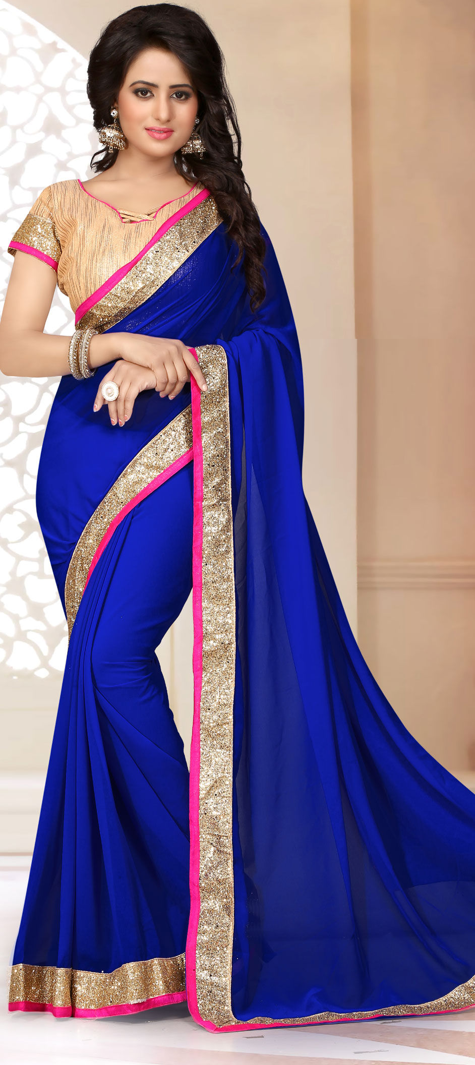 a486f1b0c8c 700736  Blue color family Party Wear Sarees with matching unstitched ...