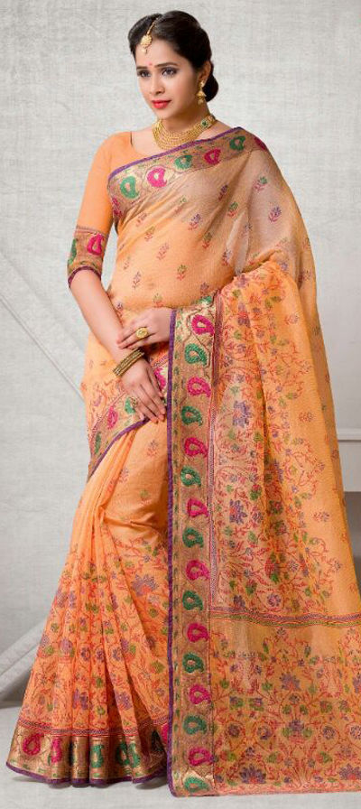 e6a63298cb 718244: Orange color family Printed Sarees with matching unstitched ...