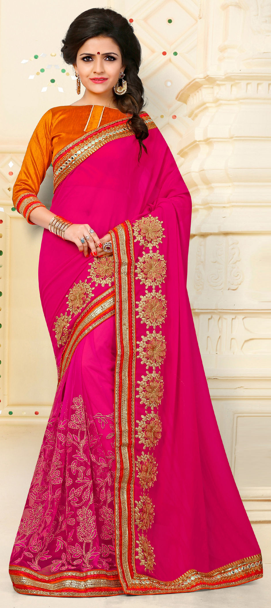 96c0d7a86a 718949: Pink and Majenta color family Embroidered Sarees, Party Wear ...