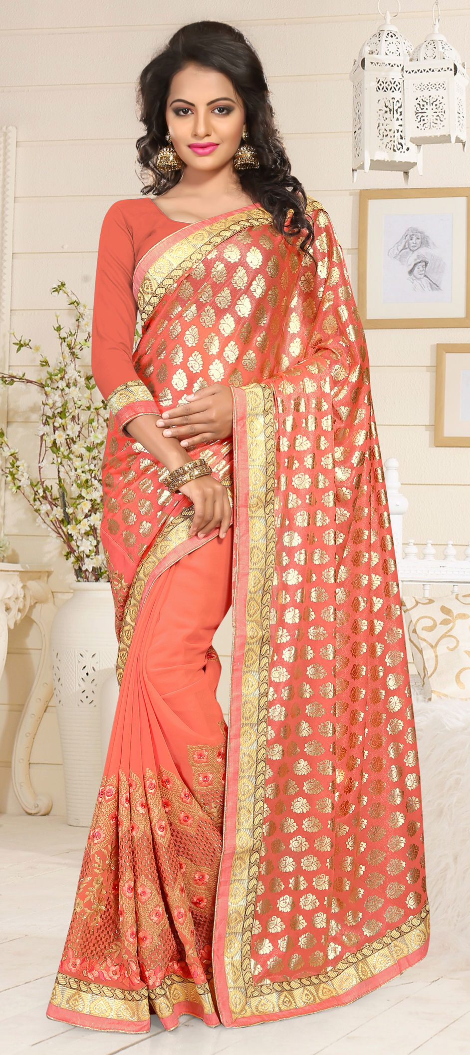 26c5a36217 721536: Orange color family Embroidered Sarees, Party Wear Sarees ...