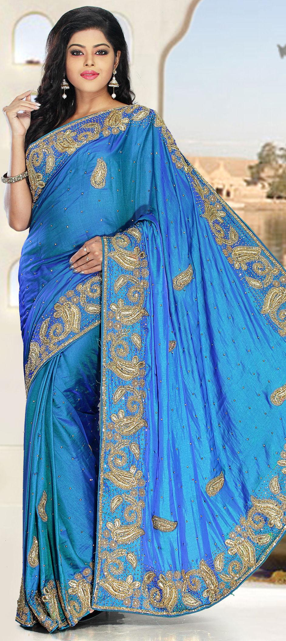 88b62c1b20c 723438  Blue color family Party Wear Sarees