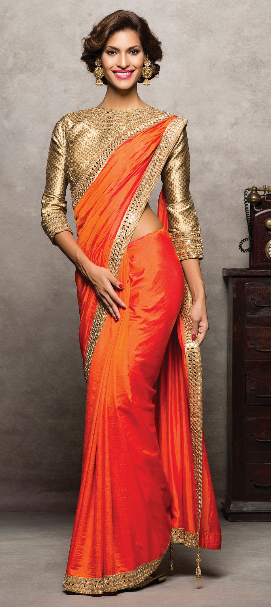 c2edfd0b0f5ed8 723896  Orange color family Party Wear Sarees