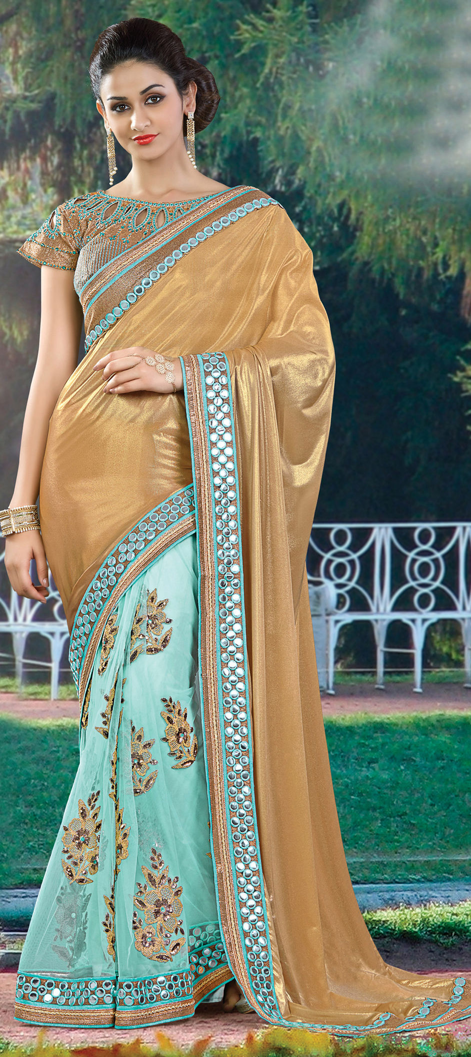 07c3e25efe 727440: Blue, Gold color family Embroidered Sarees, Party Wear ...